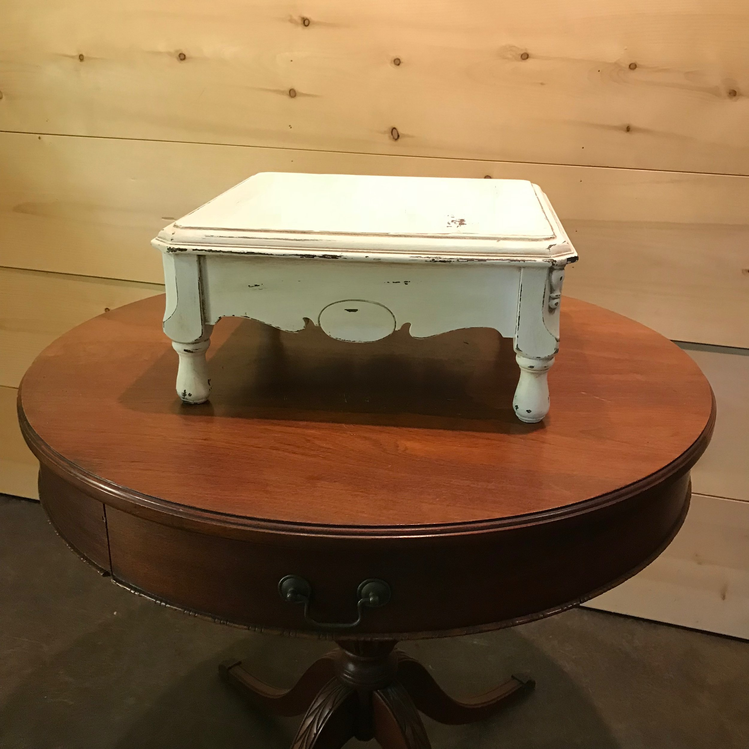 """Wooden Cake Stand   Shabby Chic white chalk painted wooden cake stand. 16"""" square x 7"""" high."""
