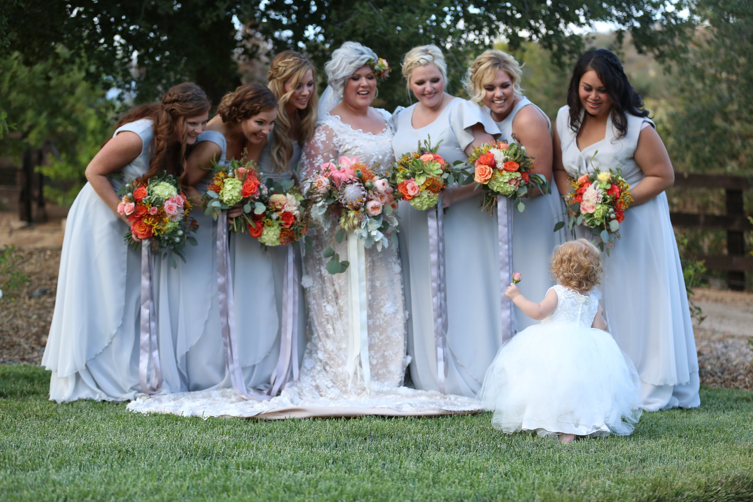Brides and bridesmaids on the. big wedding day.