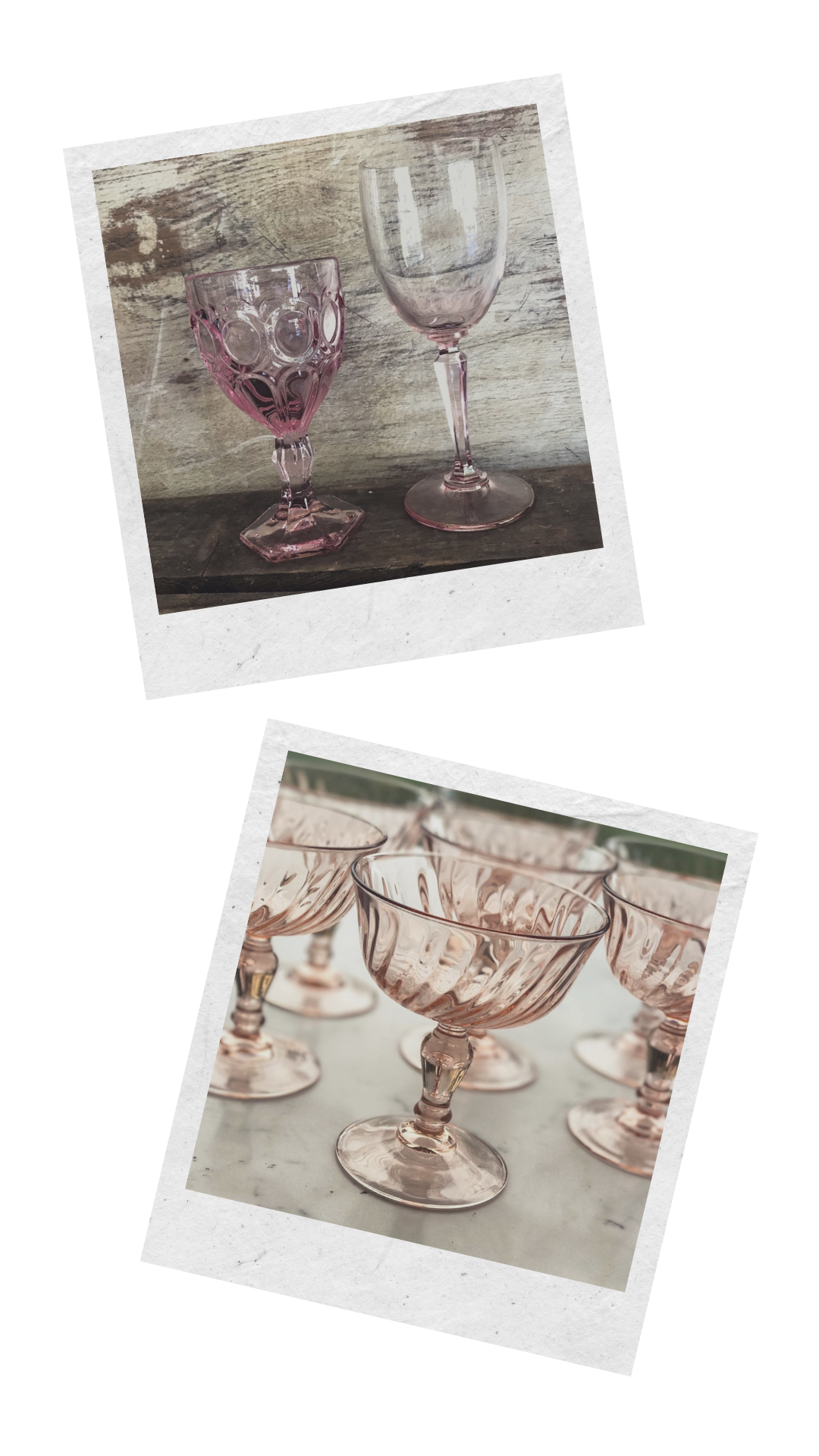 A collection of mismatched pink glass goblets for rent for weddings or parties in the Murrieta area.