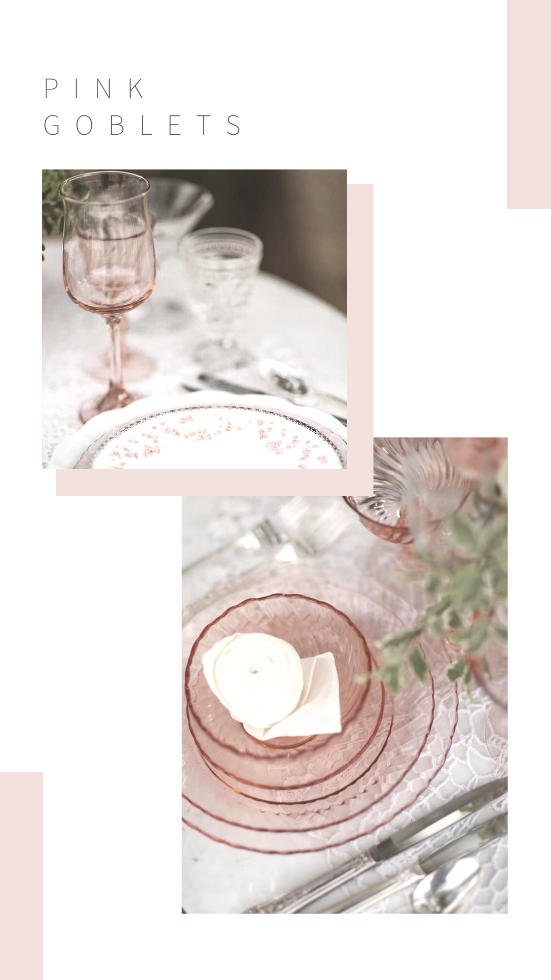 Pink goblets and pink glassware to rent for weddings and parties in the Temecula Valley.
