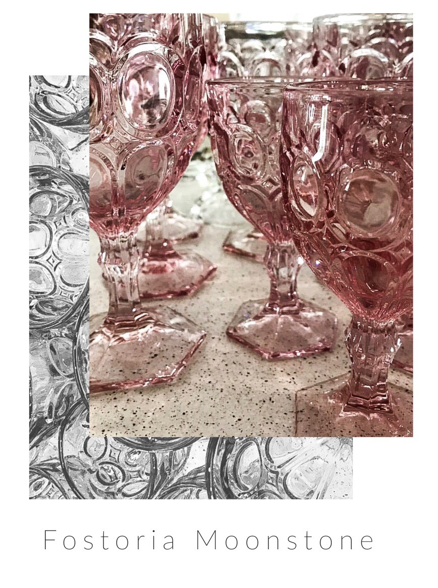 Fostoria Glass Company Rose Moonstone goblets. Vintage rental tableware for weddings and parties.