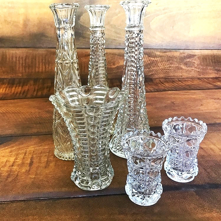 """Assorted Small Cut Glass Vases   3""""-6"""" tall. Looks great mixed together."""
