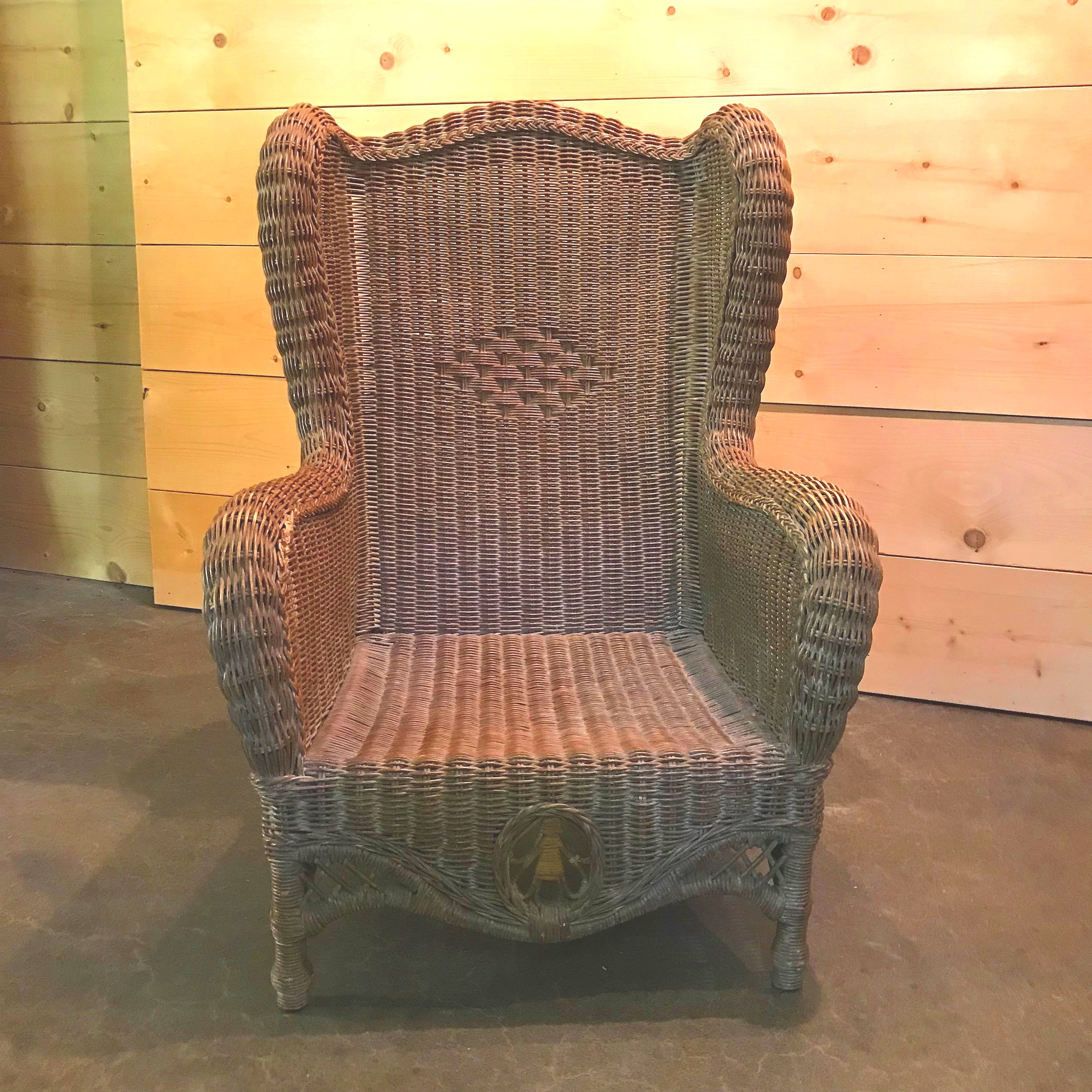 tightly woven brown wicker chair.
