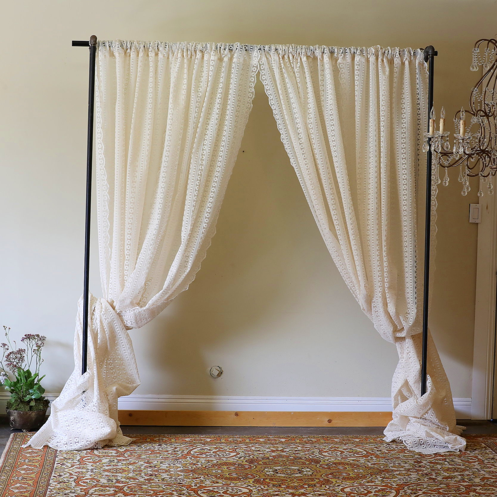 Tiffany   Industrial pipe curtain holder with four lace curtain panels on it. Multiple colors available. Three sizes, 6' 7' and 8'