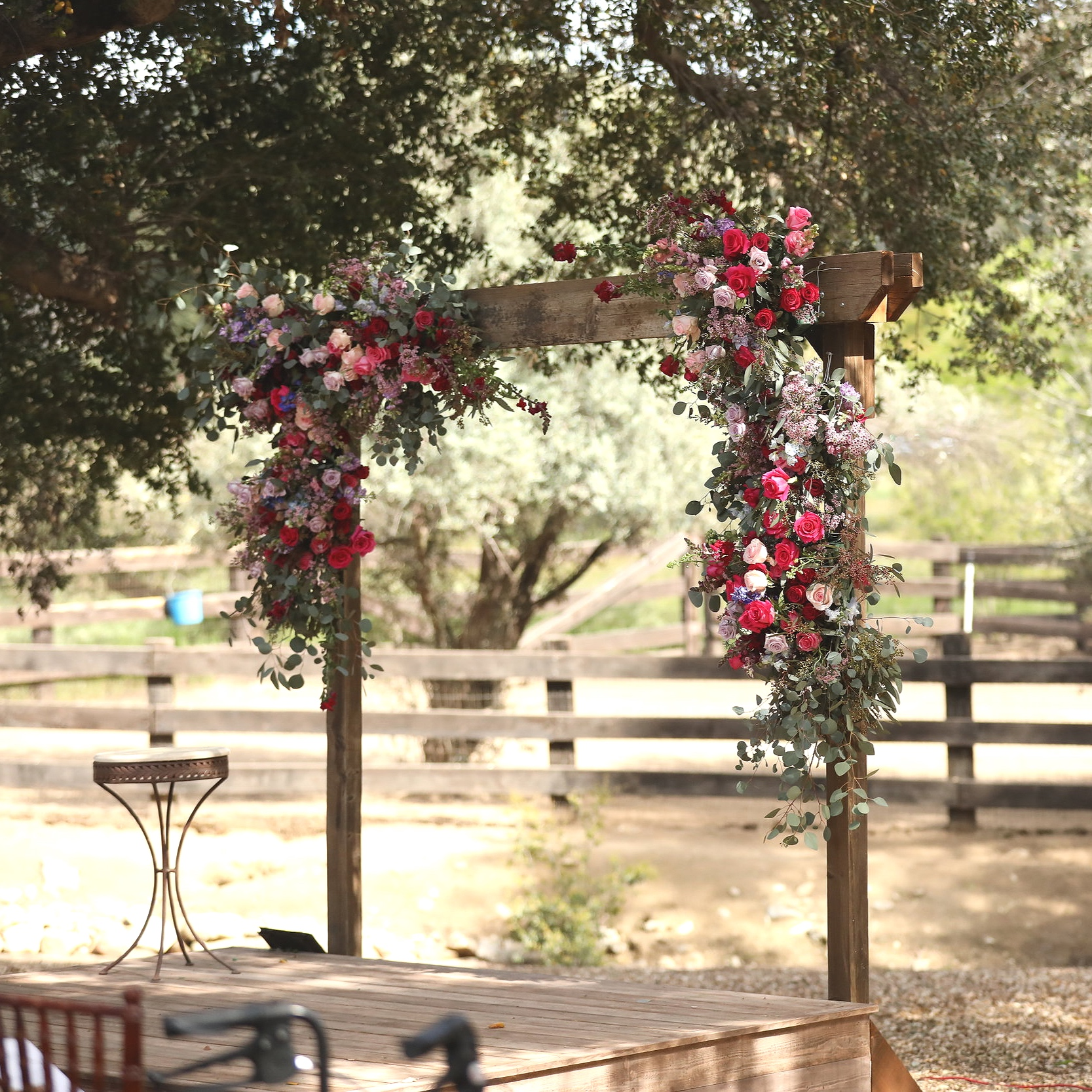Calvin   Free standing wooden arch. Perfect for draping or floral. 8' tall x 7' wide.