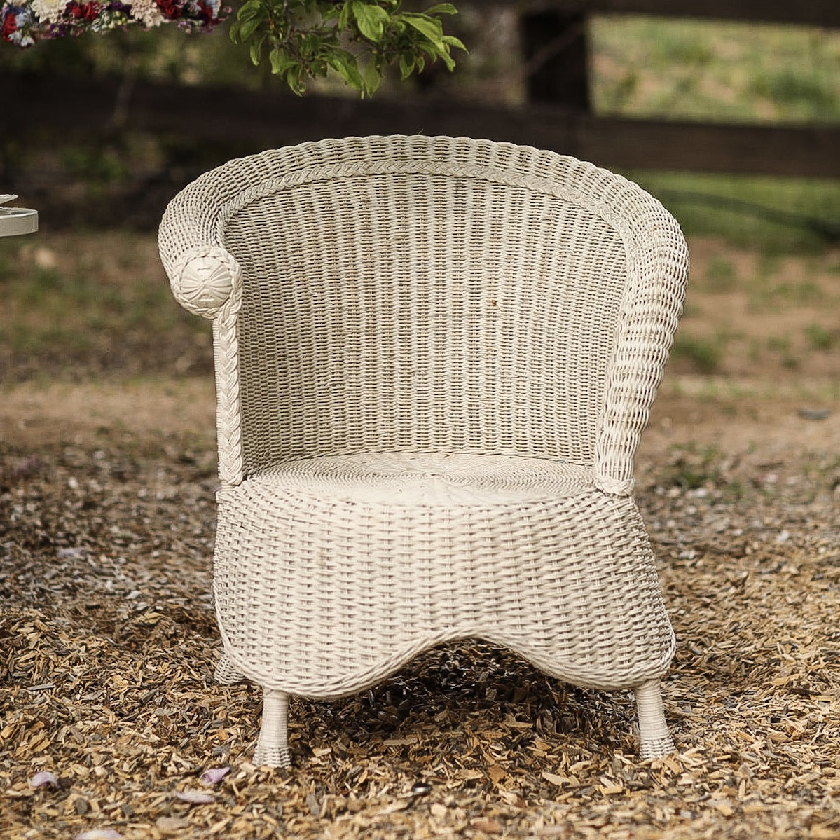 Catalina  Off white wicker chair with a curved back and base. Looks great in photos.