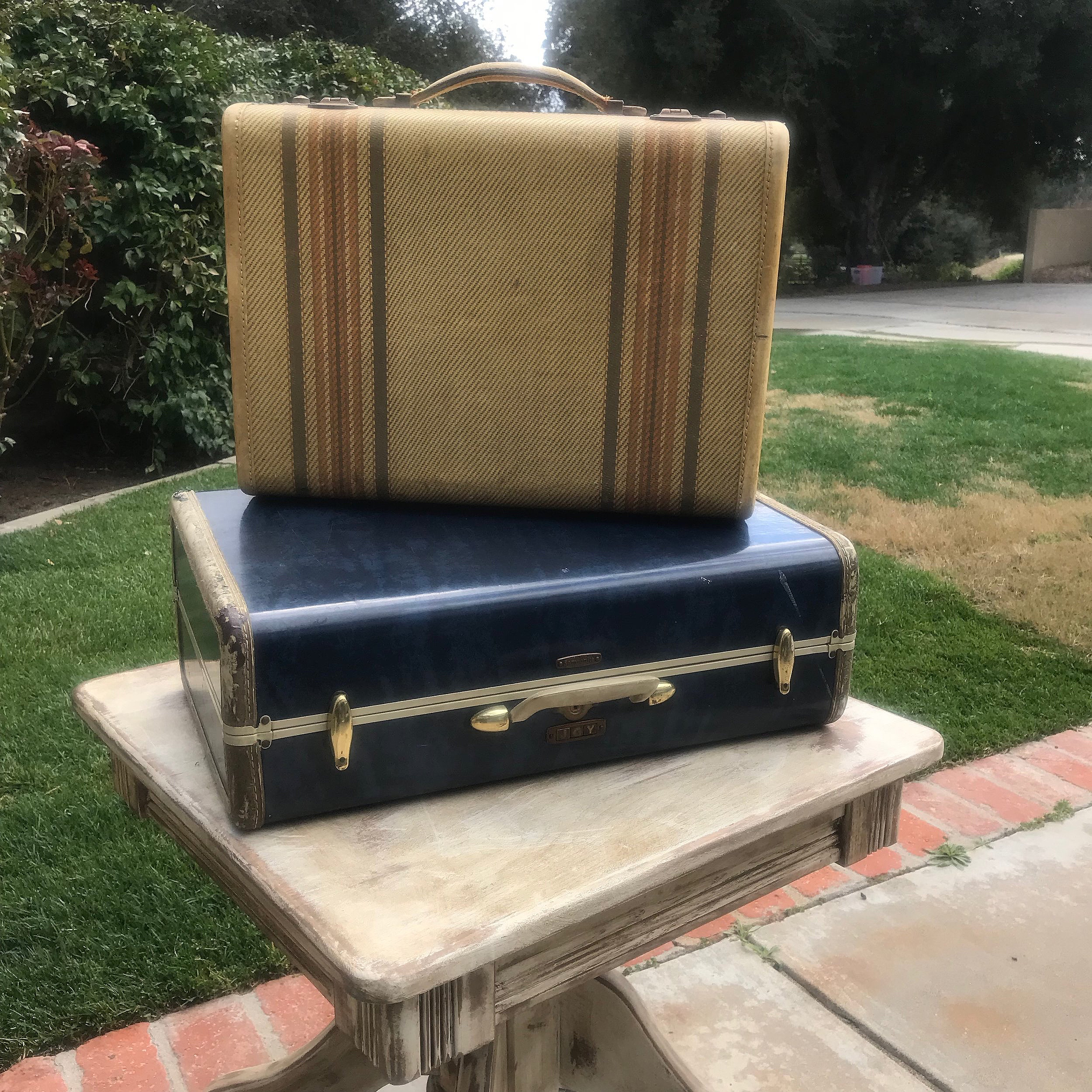 Blue Vintage Suitcases   Two styles and sizes.