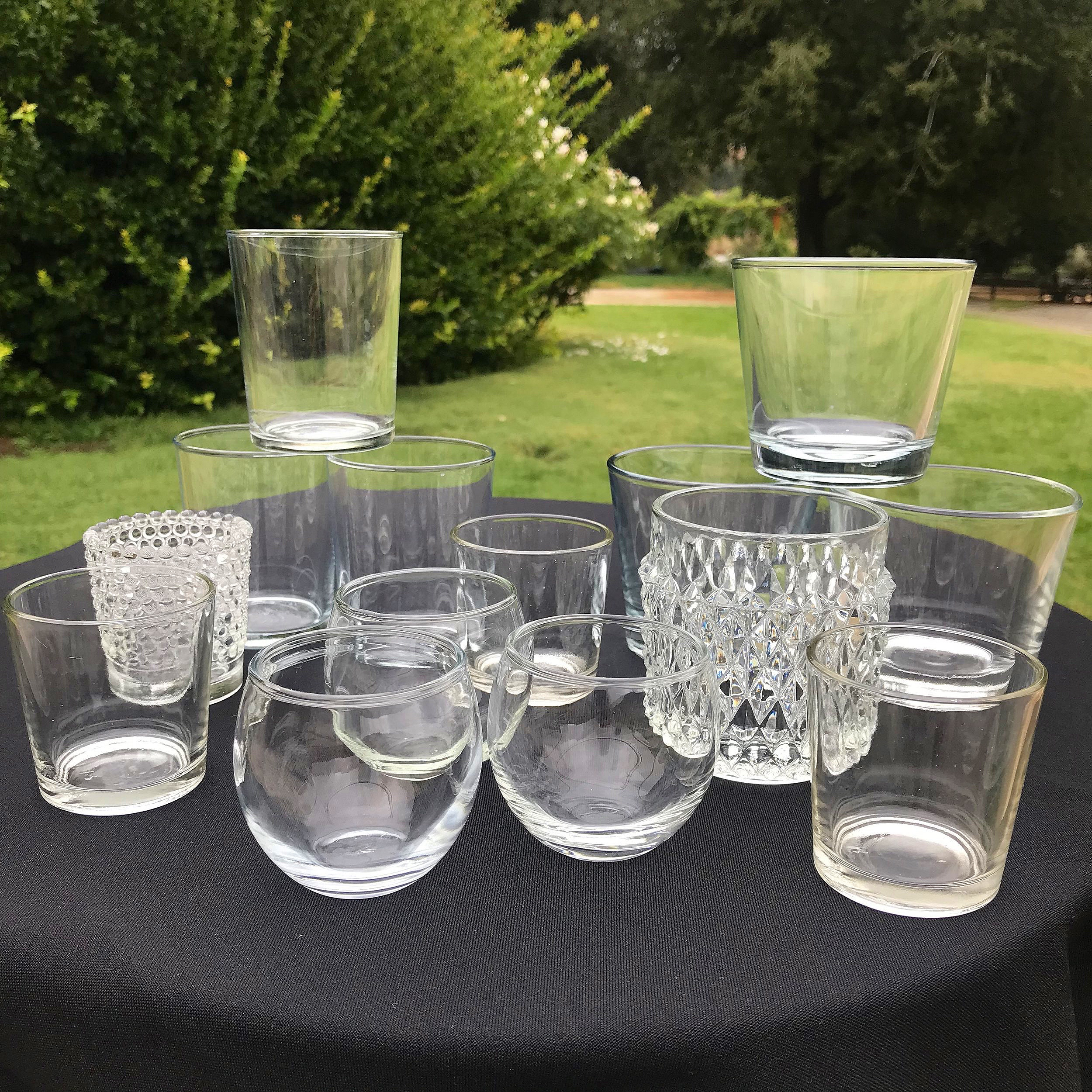 "Assorted Glass Votives   Mismatched. Holds votive candle or 2"" pillar candle."