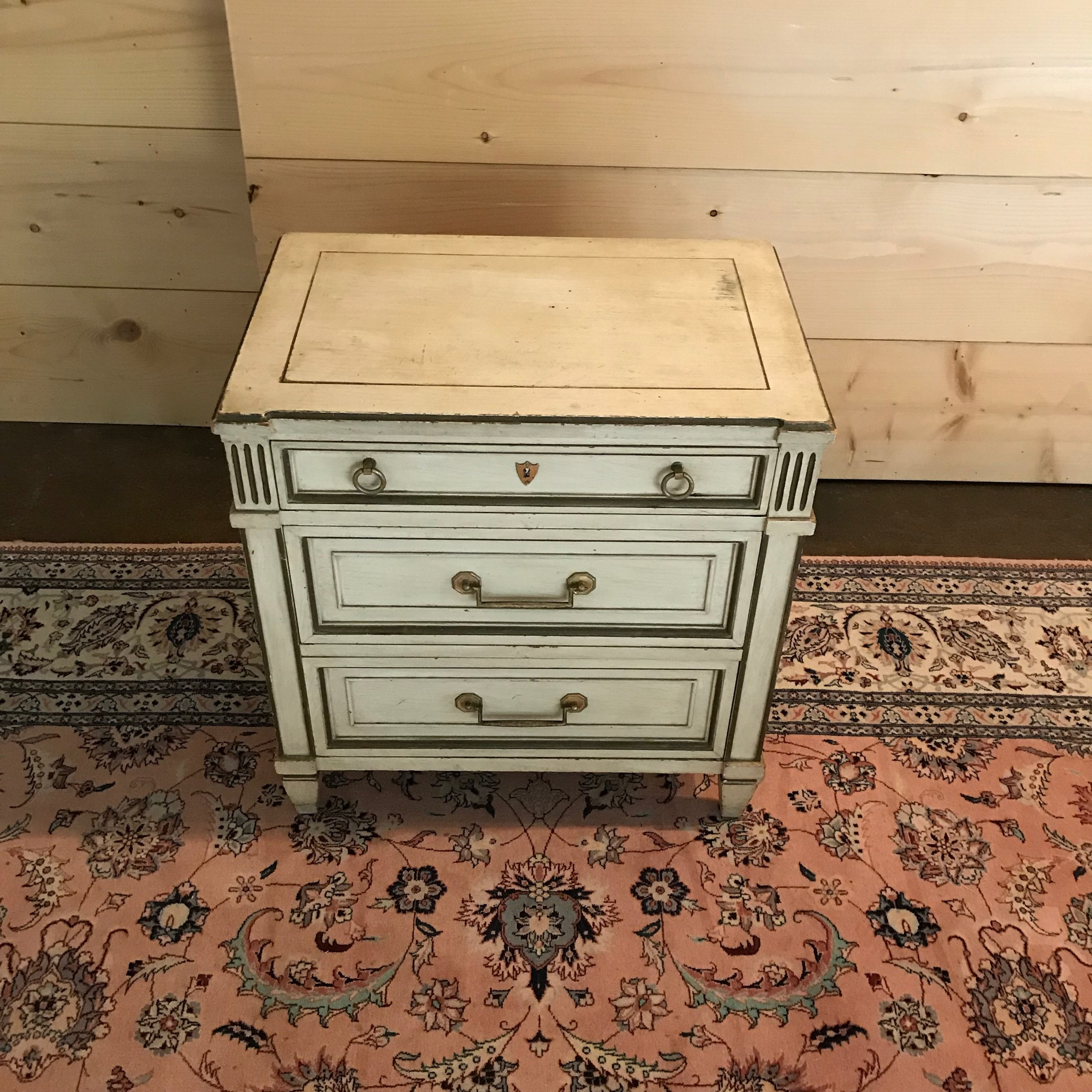 Aiden   Shabby Chic side table with three drawers. Distressed white with gold leafing.