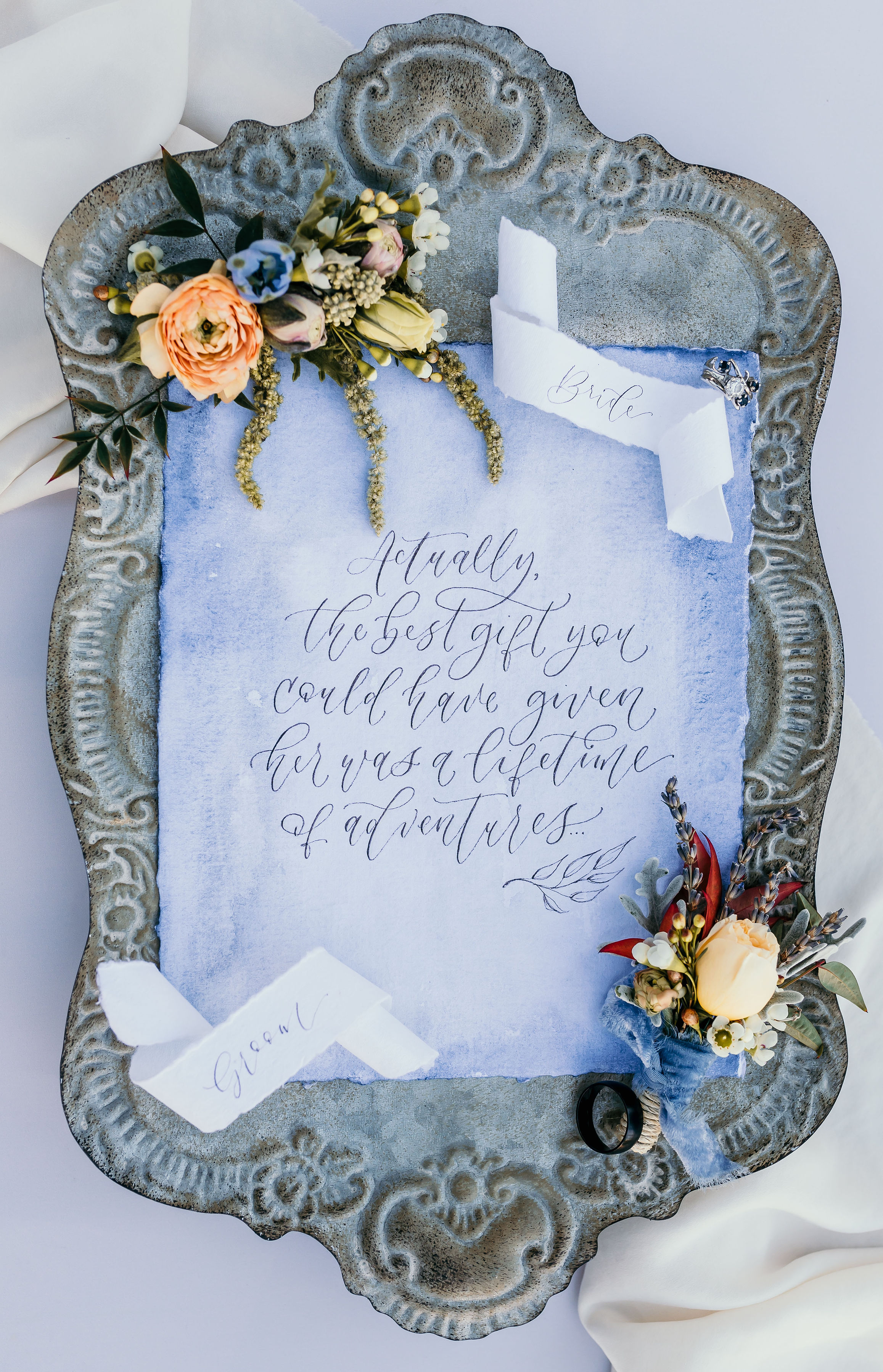 Calligraphy done quote from Alice in Wonderland styled shoot at Chateau Adare in Murrieta.