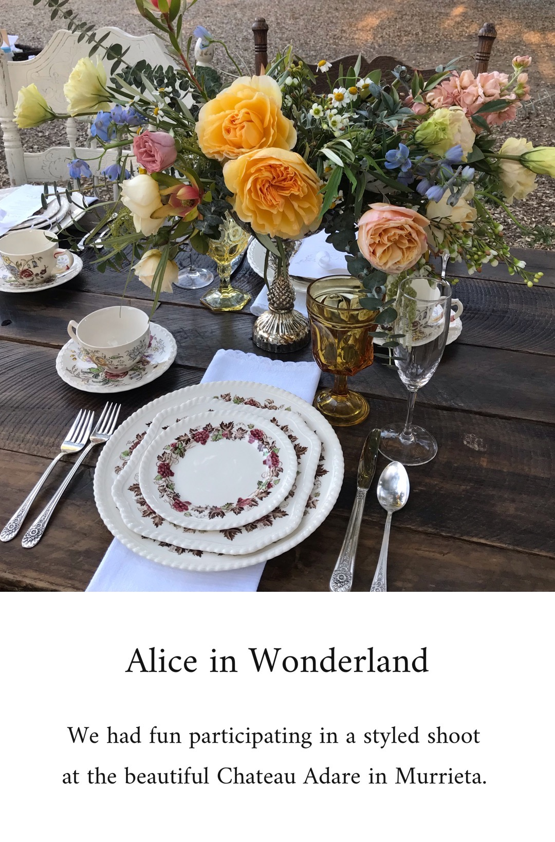 A photo journal of the styled shoot at Chateau Adare in Murrieta with the Alice in Wonderland theme. Tabletop rentals were provided by Birdie in a Barn.