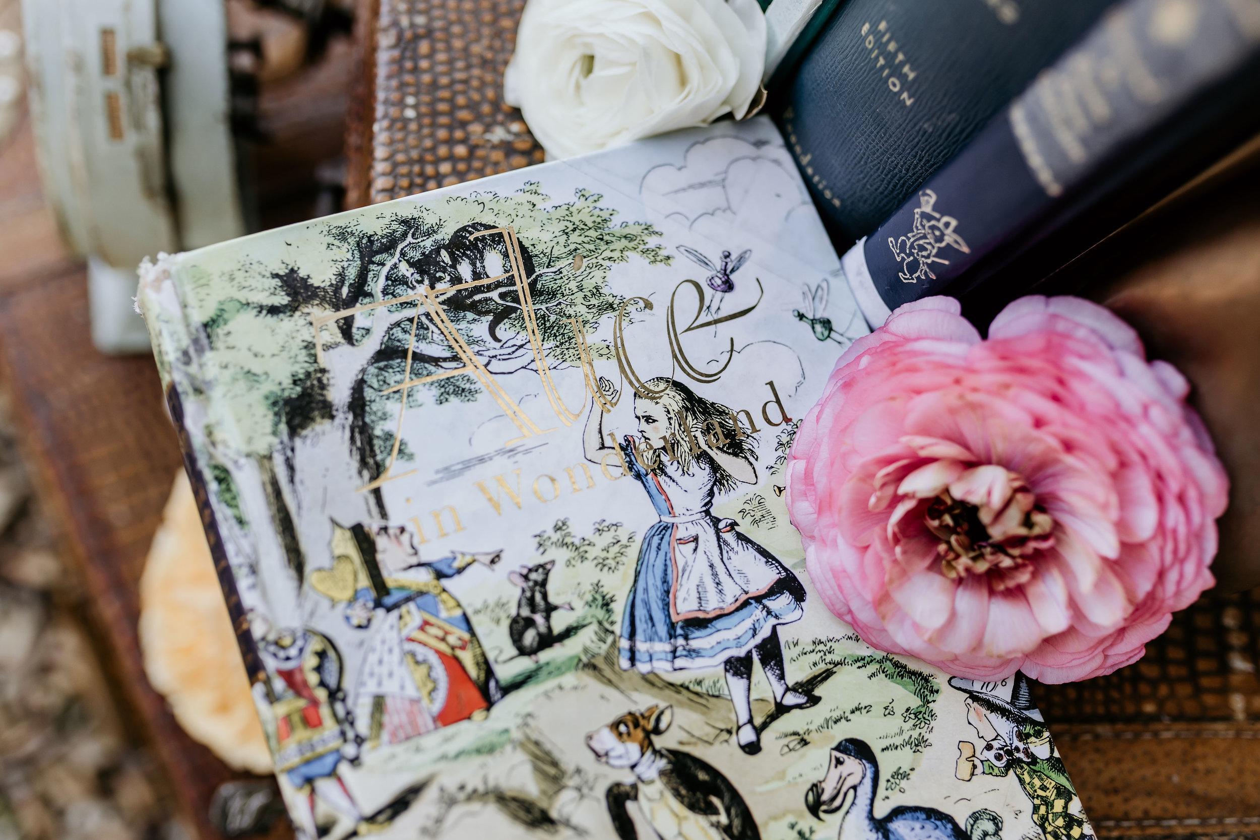 Vintage Alice in Wonderland book used as part of the props for the Alice in Wonderland vintage styled shoot at Chateau Adare in Murrieta.