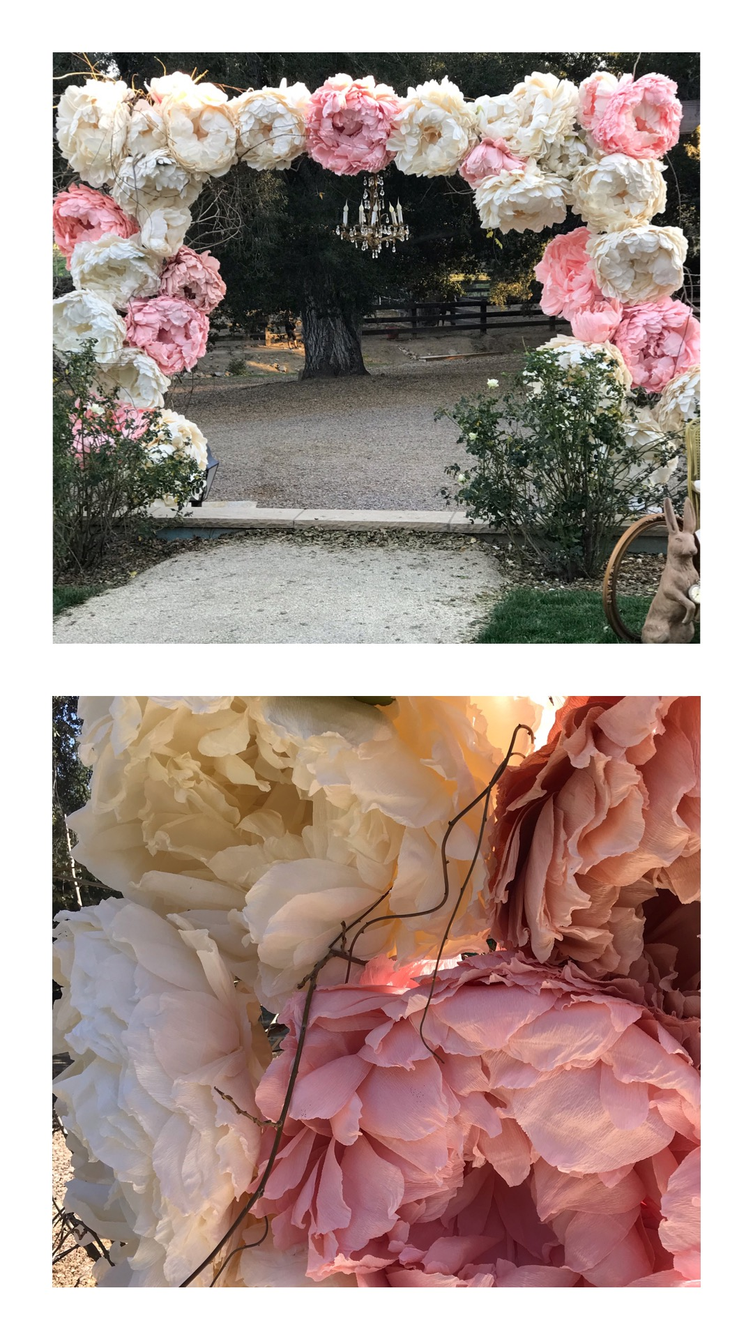 Giant handmade paper peonies displayed on the large wooden wedding arch at Chateau Adare in Murrieta.