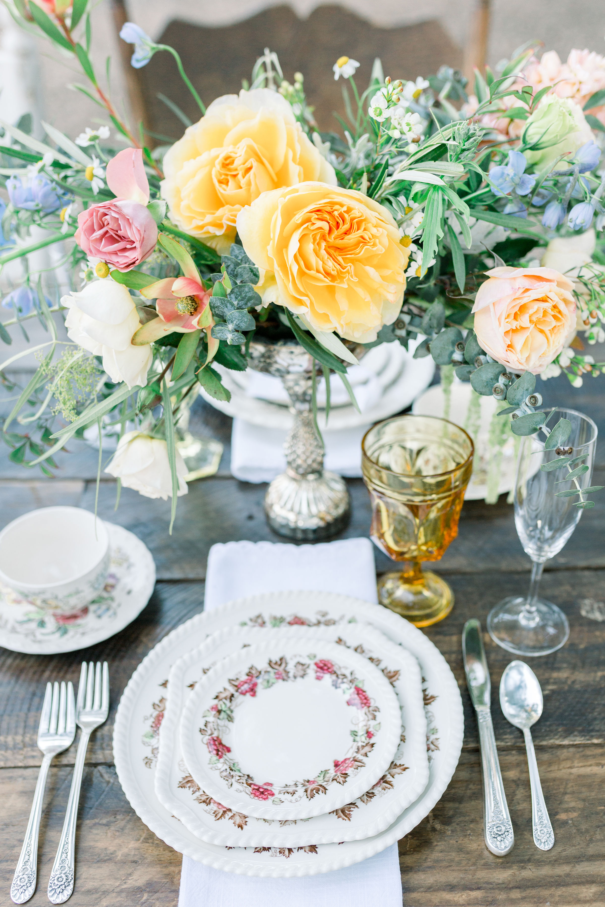 Staffordshire china was used in the individual place settings on the table. Also, we used vintage silver.