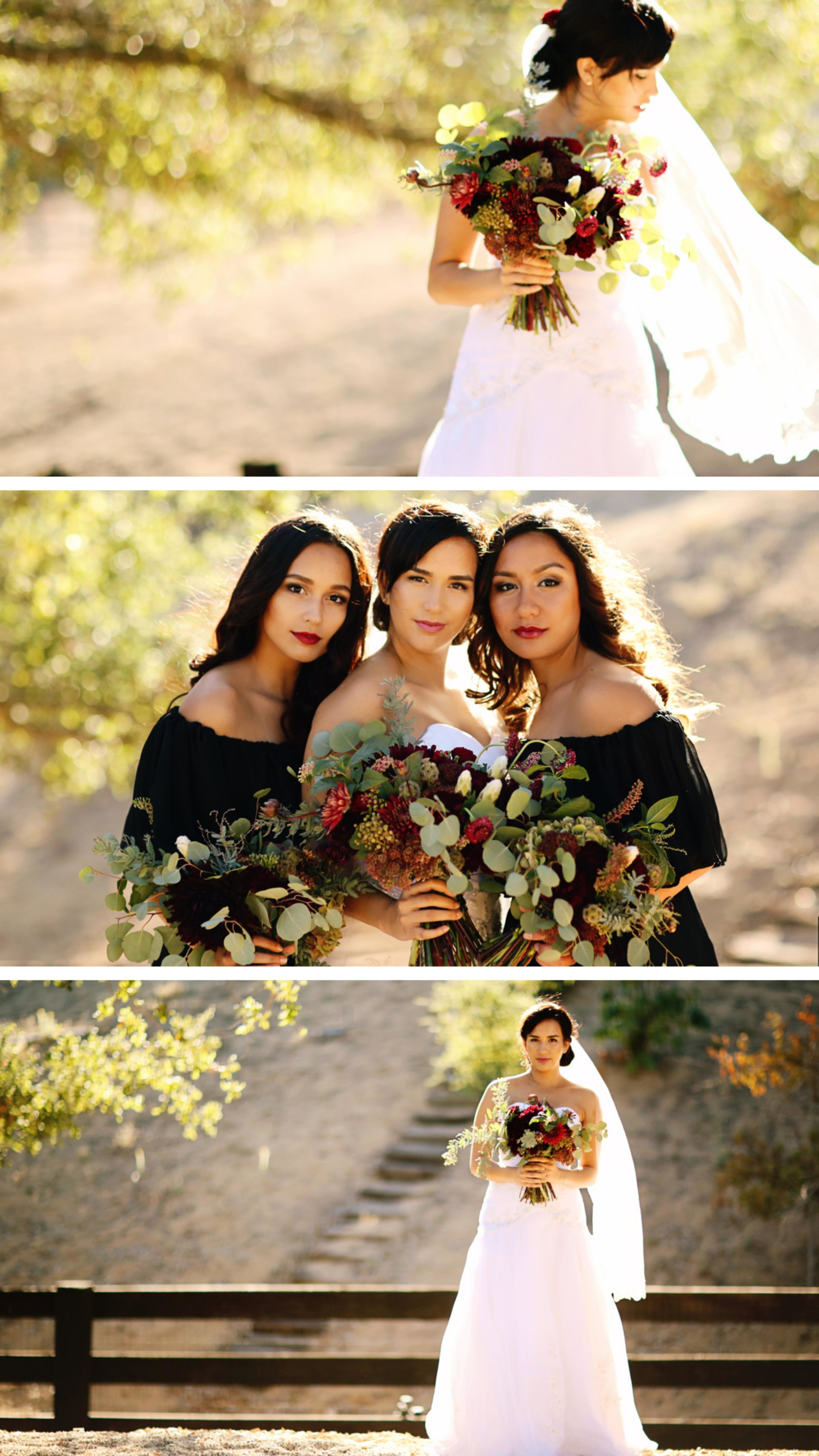 This is a marsala styled shoot done at  Chateau Adare  in Murrieta. The bride wore a strapless dress from  Davids Bridal.  The brides maids wore black dresses from Davids Bridal. The floral was done by  Bleudog Floral . All photography was done by  Bleudog Photography.