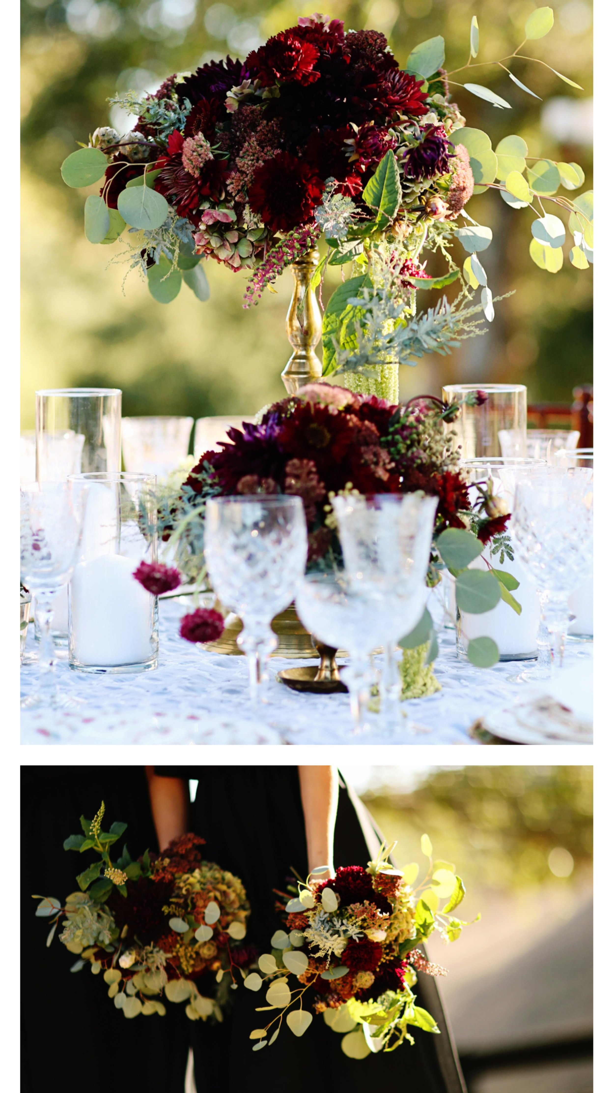 Bleudog Floral supplied all the florals for this Marsala wedding styled shoot at Chateau Adare in Murrieta. The chocolate dahlias were the show stopper.