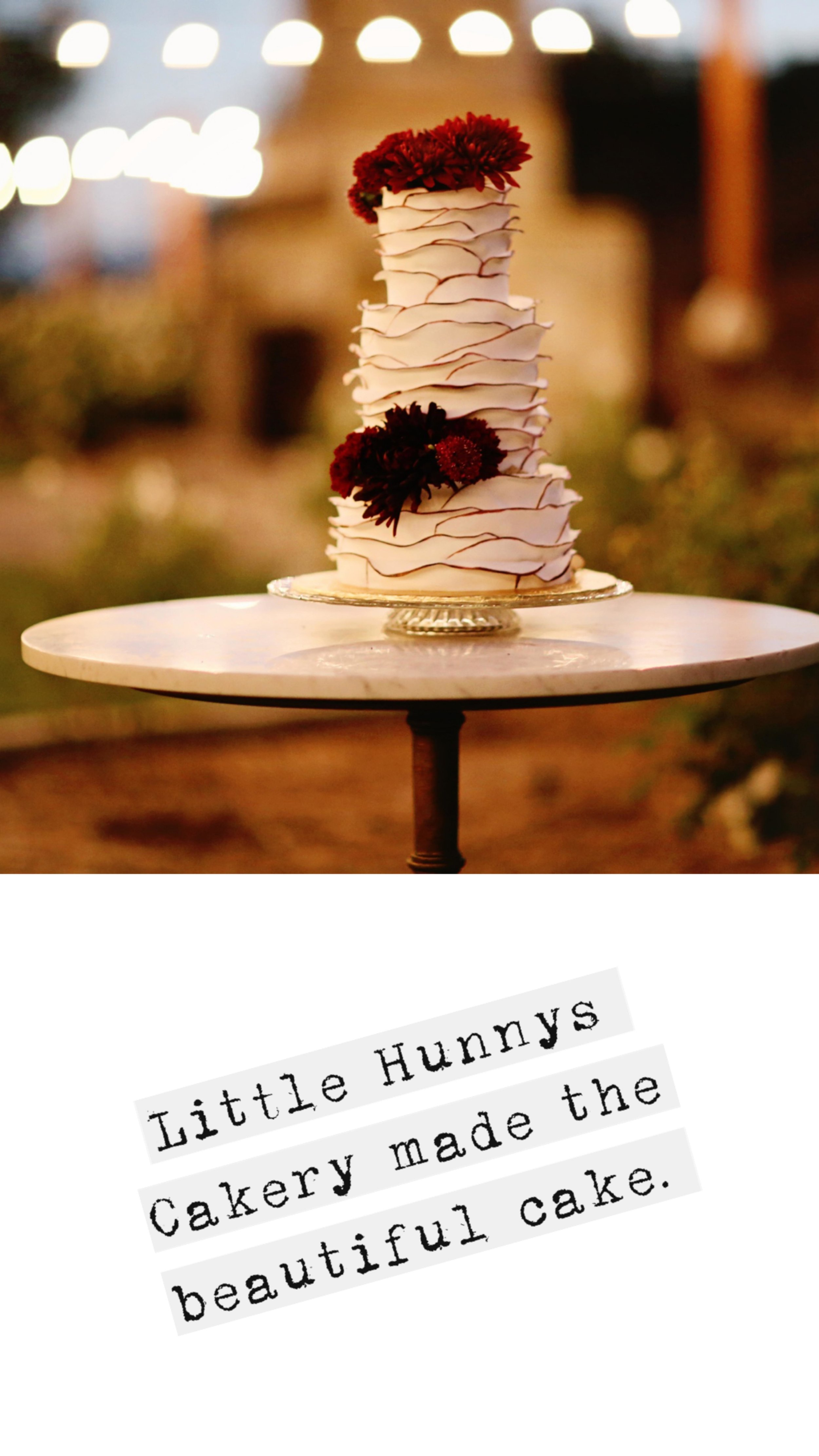 Linda from  Little Hunnys Cakery  made this marsala ruffled wedding cake for the styled shoot in Murrieta at Chateau Adare.