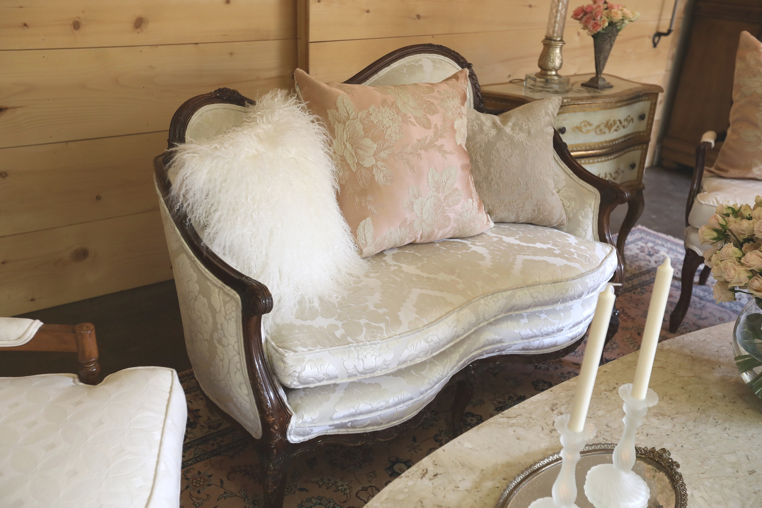 Vintage Cream Loveseat