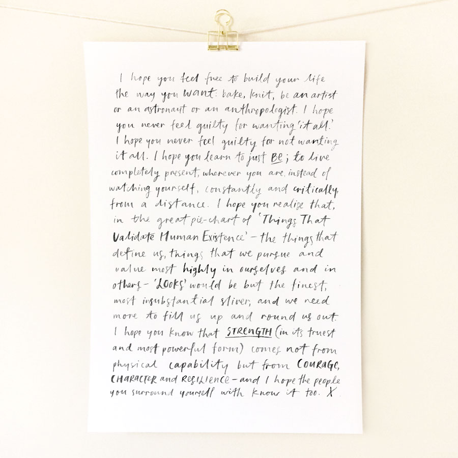 'I Hope You' hand-lettered art print