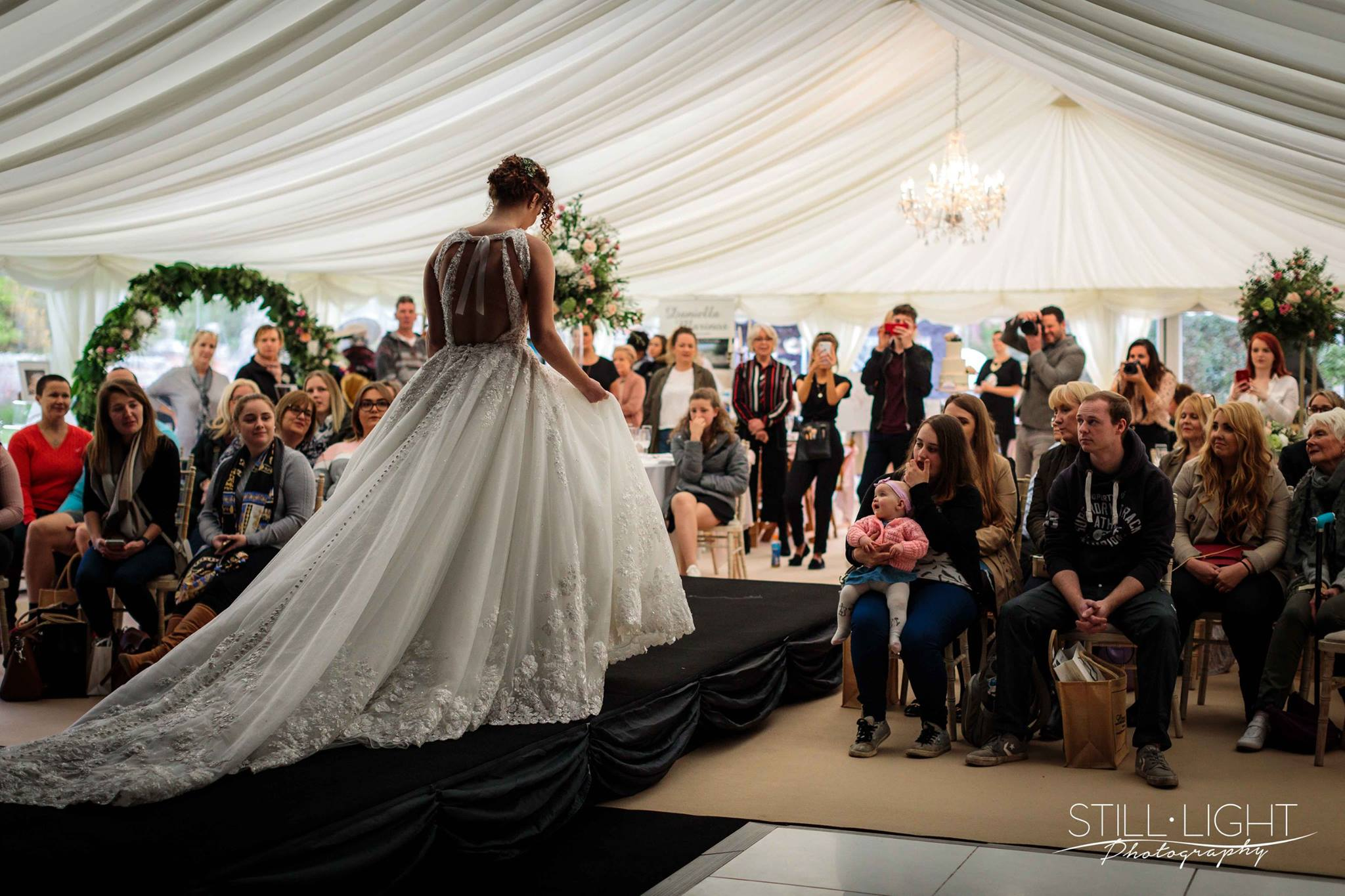 Image Credit Still Light Photography , Marquee Company of Worcester , Castle Bridal , Henley Hall Weddings .