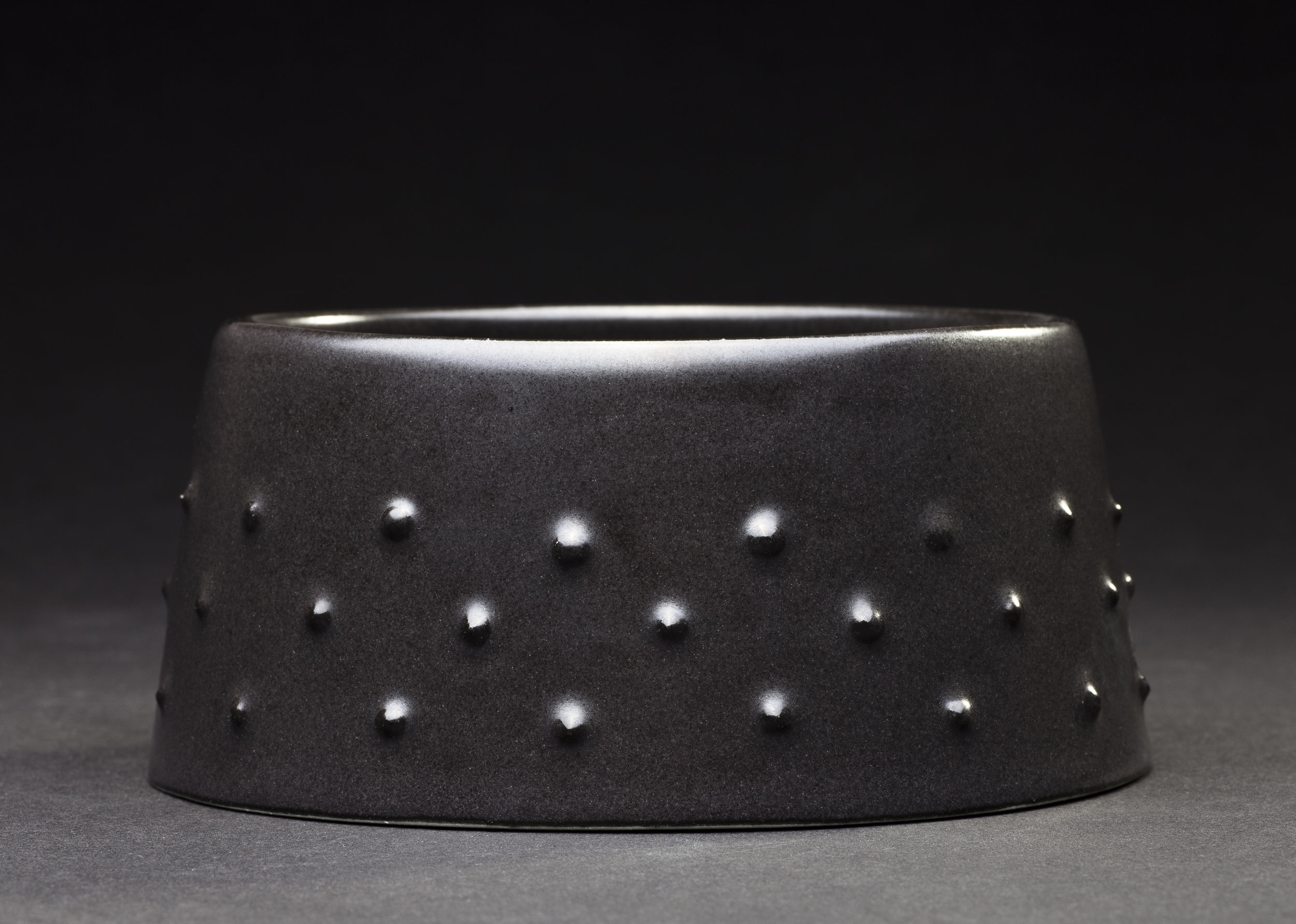 Jane Bamford 2017  Small Urchin Bowl Full Banded Stoneware Black Satin Glaze 132mm x 58mm.jpg
