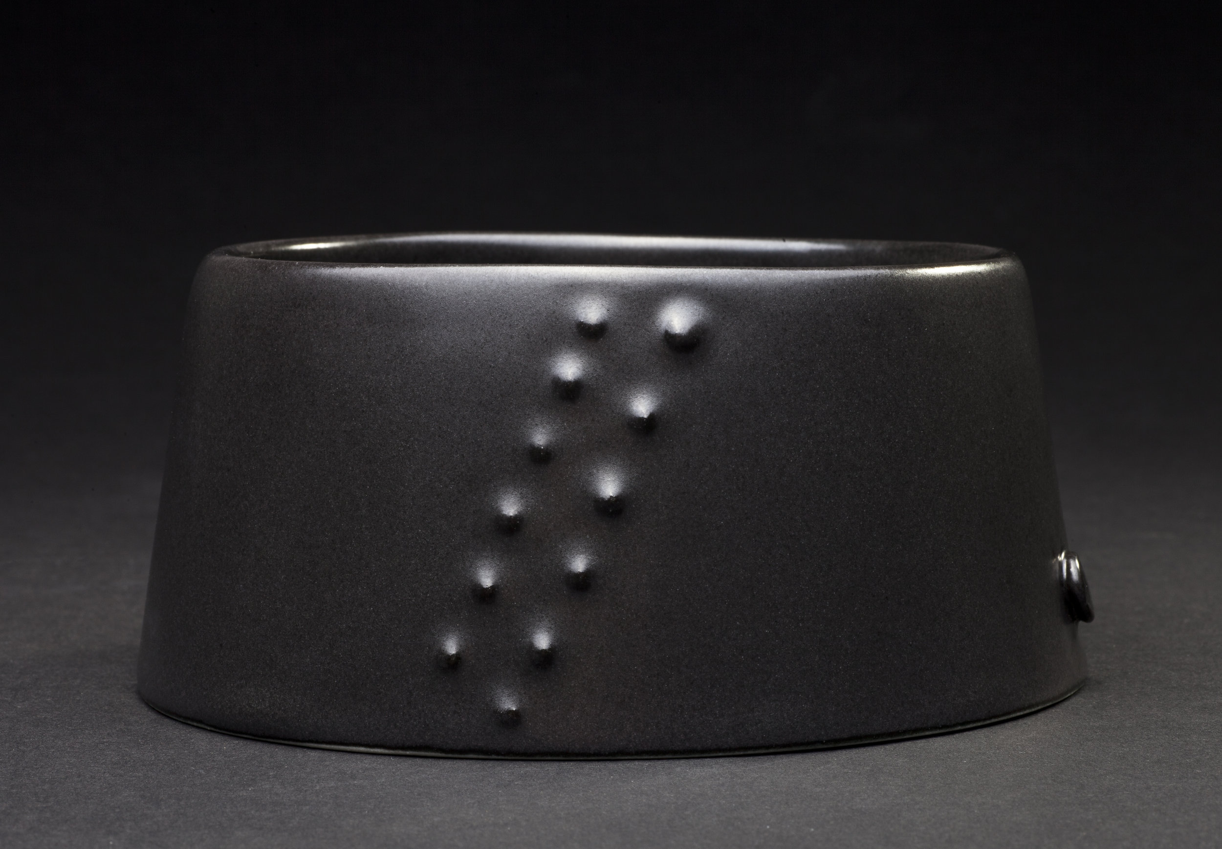 Jane Bamford 2017  Small Urchin Bowl Diagonal Side band Stoneware Black Satin Glaze 132mm x 58mm.jpg