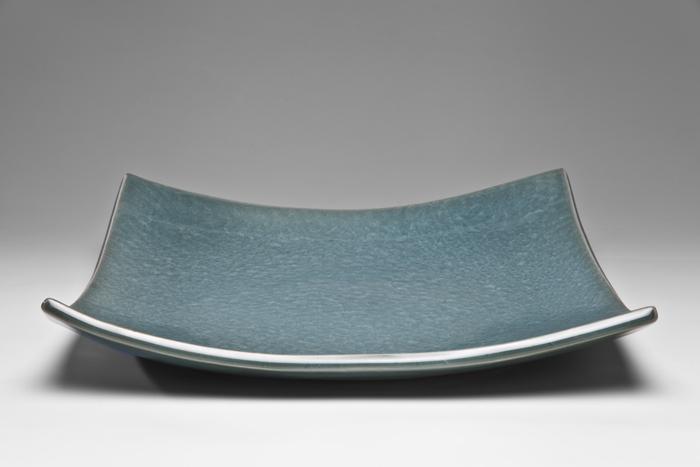 Deep Green Celedon Platter, 2013, Porcelain, 36 x 36cm. Photo credit Uffe Schultze