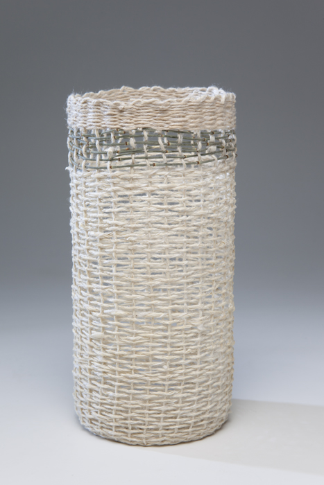 Paper Vessel, 2013, Hand spun and woven Kozo paper with cassurina band and silk ply, 17cm high. Photo credit Uffe Schultze
