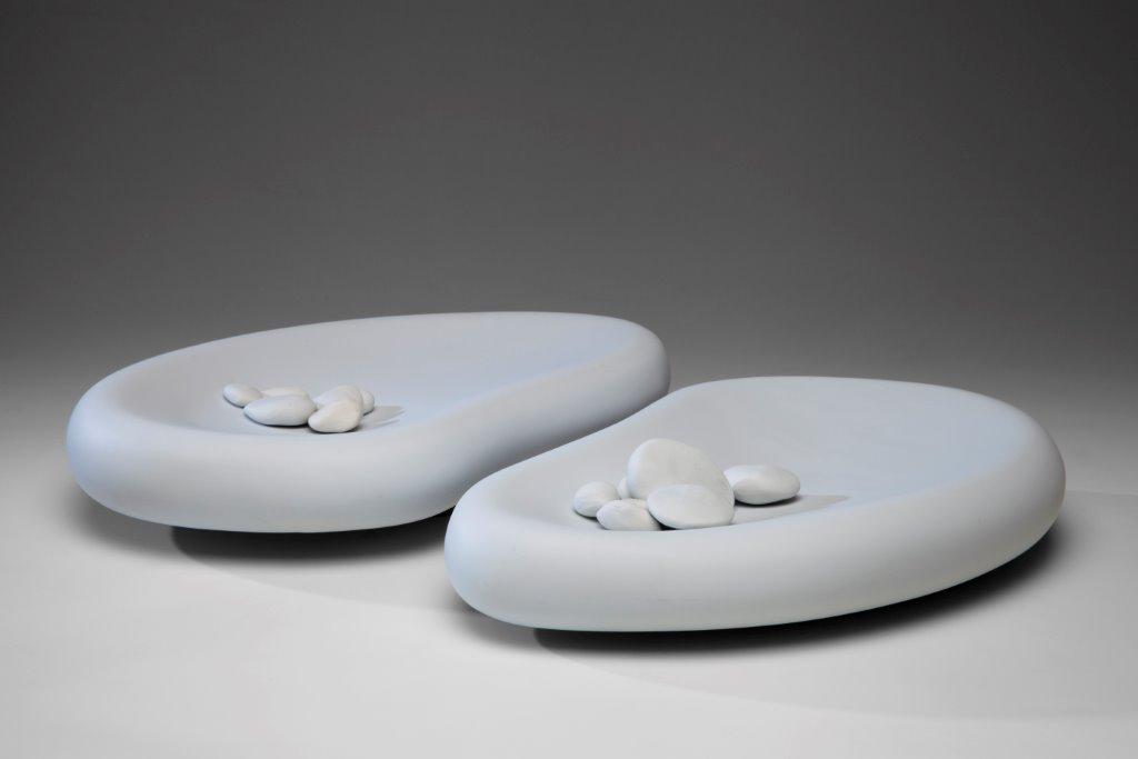 Rock Pool vessels with white pebbles, 2013, Limoges porcelain, 46 x 34cm. Photo credit Uffe Schultze