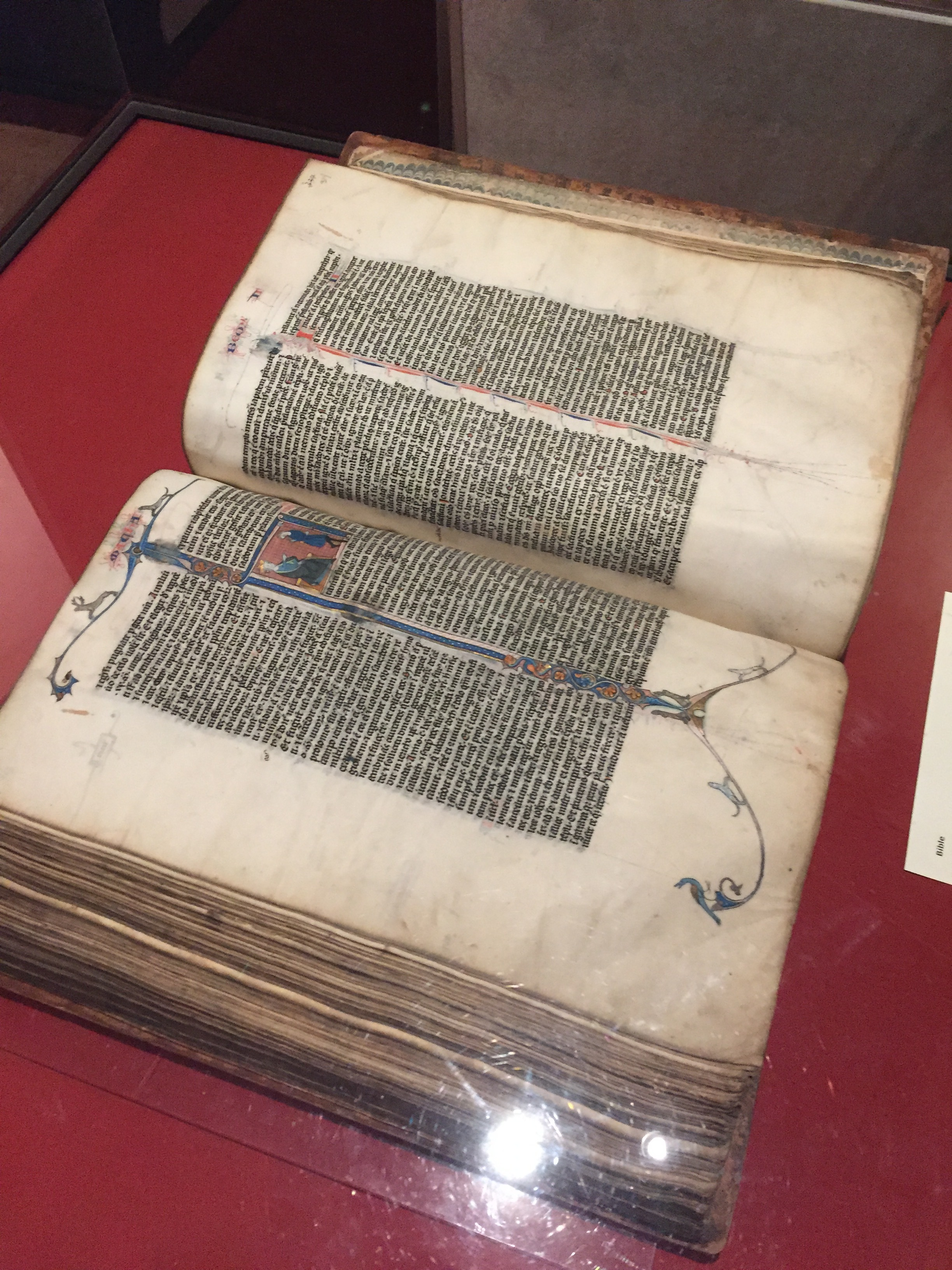 A medieval manuscript of the Bible from the 13th Century, Book of Kells exhibit, Trinity College, Dublin.