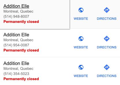 Résultats de la recherche d'un magasin Addition Elle à Montréal sur Google, lundi 27 mai 2019……Results of an Addition Elle Montreal locations search on Google, Monday, May 27, 2019
