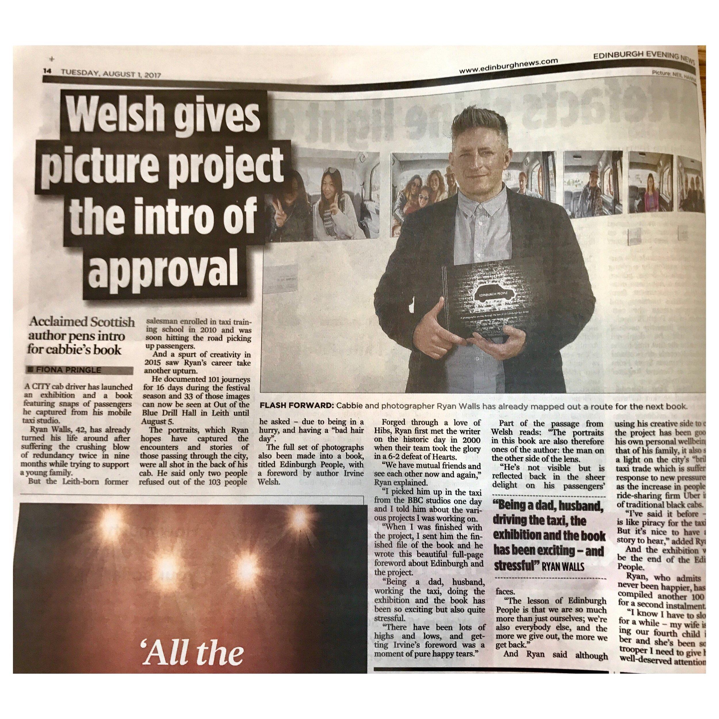 Edinburgh Evening News Tuesday 1st August 2017.