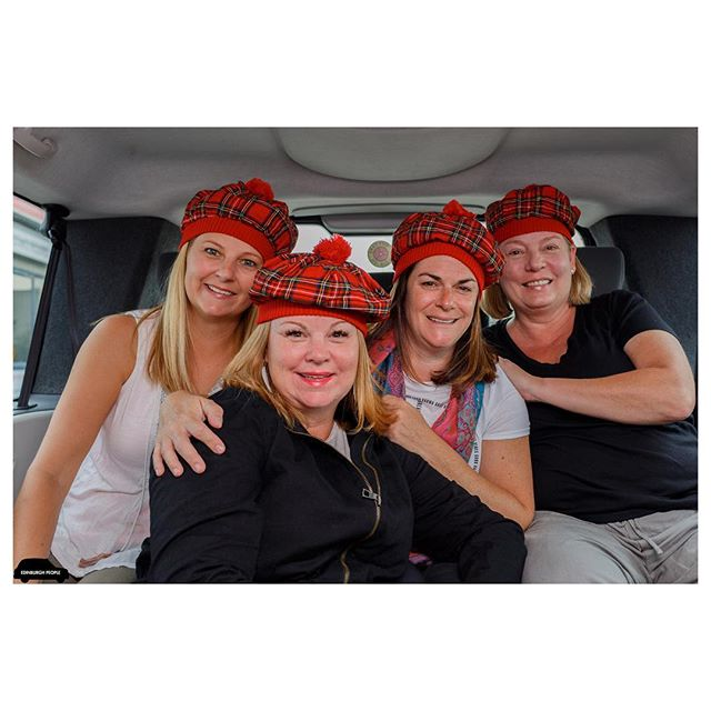 Sunday 3rd September 2017 09:25 George Hotel - Easy Rent (Edinburgh Airport) Military Wives  Shayn, Kelly, Theresa & Kelly  The minute these wonderful woman jumped in the cab, I knew we were going to have a great chat! They all met while stationed in Japan together, now they live in California, Ohio and Germany. Meeting up every year for a new adventure, travelling all around the world including Bali, Thailand, Vietnam, Cambodia, Italy and Germany. Future destinations include Morocco, Fiji and New Zealand. This time they were here to celebrate the life of one of their late fathers who loved Scotland!🏴 We chatted about everything imaginable, after we arrived to their destination, it got me thinking how brave these ladies were. They had brought up their own families far away from their parents, friends and familiar neighbourhoods, always having the fear of the dangers the come with their husbands jobs. I guess this is why these guys are so close today. Behind every great man stands a greater woman! X * * * Congratulations to @s_j_sphotography @michaelfenwick2 @edinburgh.sea.pieces for being the first to guess Kerr Street for the street location in the last post. Please DM me for an address to drop off my book!👏👏👏🎅🏻X (PLEASE CHECK NEXT POST FOR ANOTHER CHANCE TO WIN MY BOOK) * * * FOLLOW MY JOURNEY. X 📷  #edinburghpeople #edinburgh #edinphoto #ig_street #igersedinburgh #militarywives #usa #visitscotland  #instagram #military #instagramer #canon #wife #magnumphotos #igers #streetphotography #streetart #photography #taxi #tartan