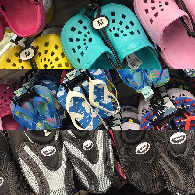 Crocks, flipflops and watershoes for the entire family are available now! #bakerspharmacy #jamestownri #beachtime #springsummer #sunnyweather #sandyfeet #liveyourbest
