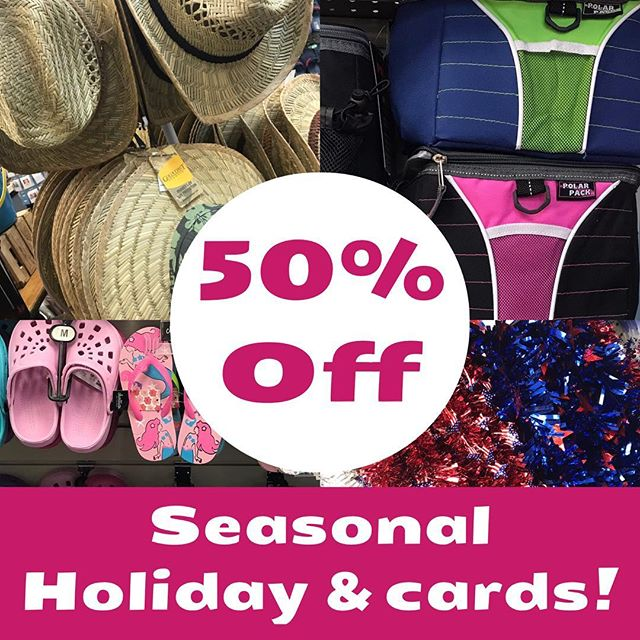 All holiday and seasonal items and cards are on sale for 50% off. This includes beach toys, summer items, camping and picnic items, summer hats, shoes, coolers, chairs and umbrellas. Memorial Day flag items on sale too! Beach bags, towel, paper plates and napkins and sunglasses. All cards are 50% off as well. Excludes sunscreen, bug repellent and aloe.  #bakerspharmacy #jamestownri #sale #liveyourbest