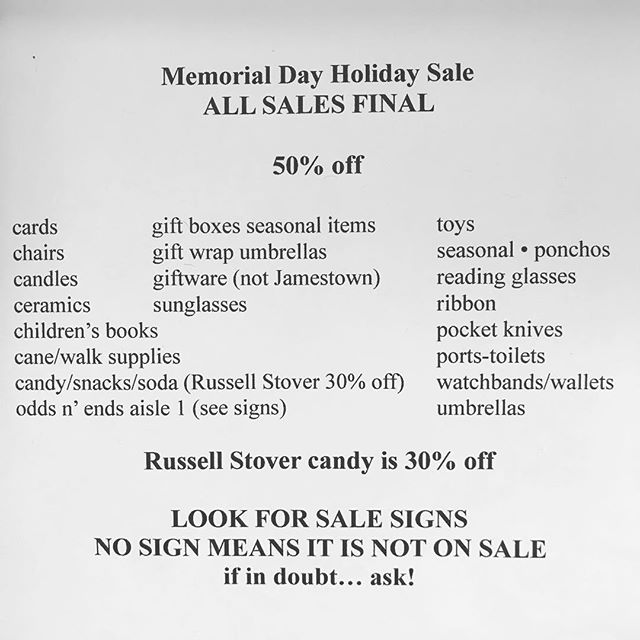 It's almost Memorial Day! Flags available for lining drives and gardens and memorials.  Seasonal items...and much more are on sale. #bakerspharmacy #jamestownri #SALE #liveyourbest