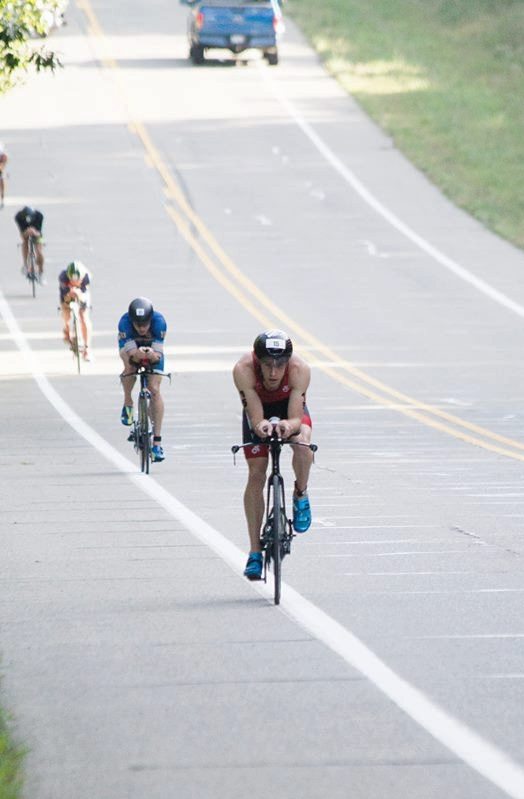Leading the group at Ironman 70.3 Steelhead,  Eric Limkemann , and  Joe Gambles  second and third in the group.  Photo by Maddy McMillan.
