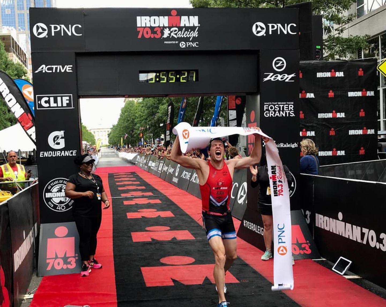 Ironman 70.3 Raleigh Finish. Photo by Ironman