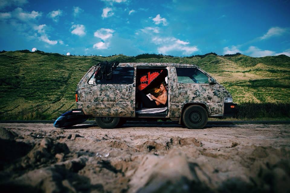 Van life, months spent on 'Oahu living in my van. Self-portrait, 2013.