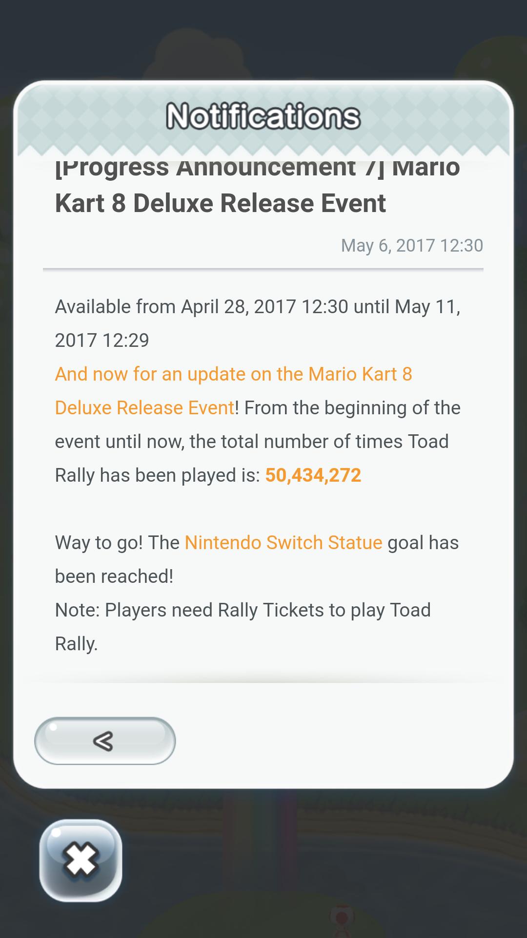 Mario Kart event won in 7 days