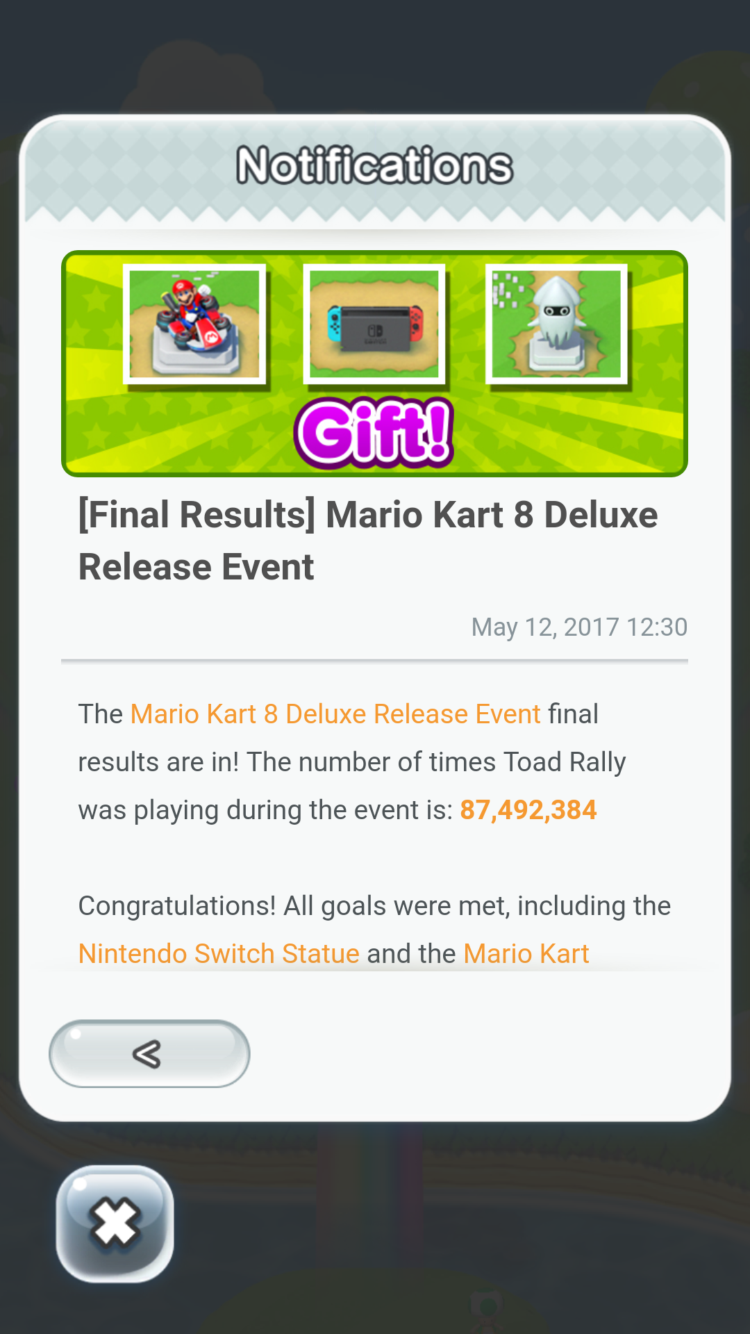 Notifications Pop-up after event expiry