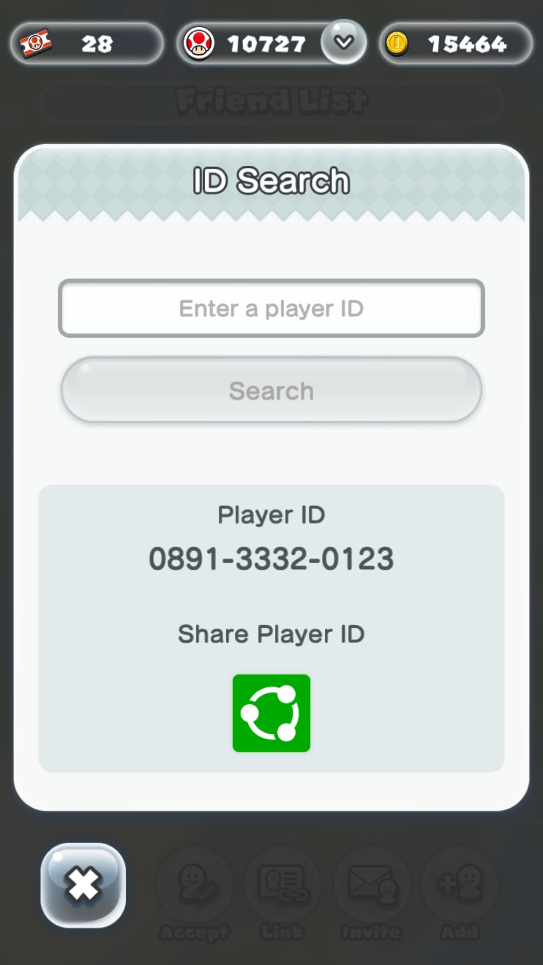 Player ID screen