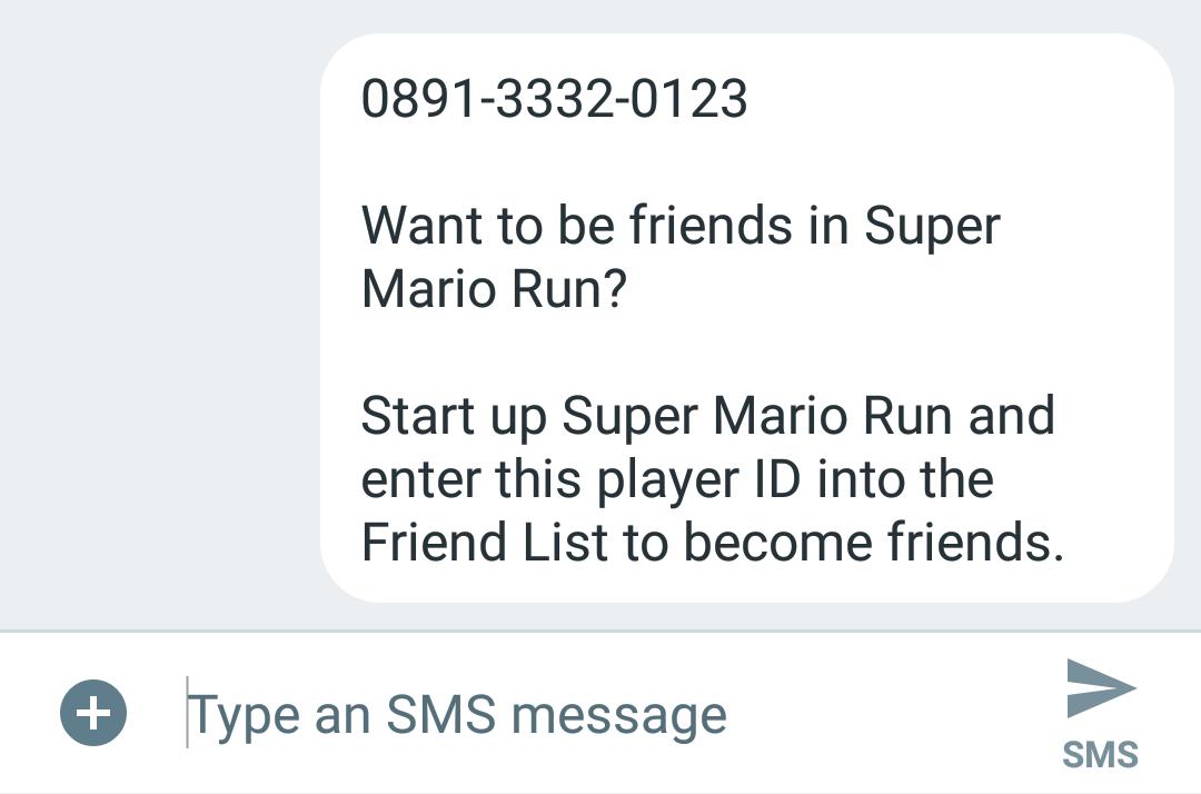 Sending Player ID via SMS