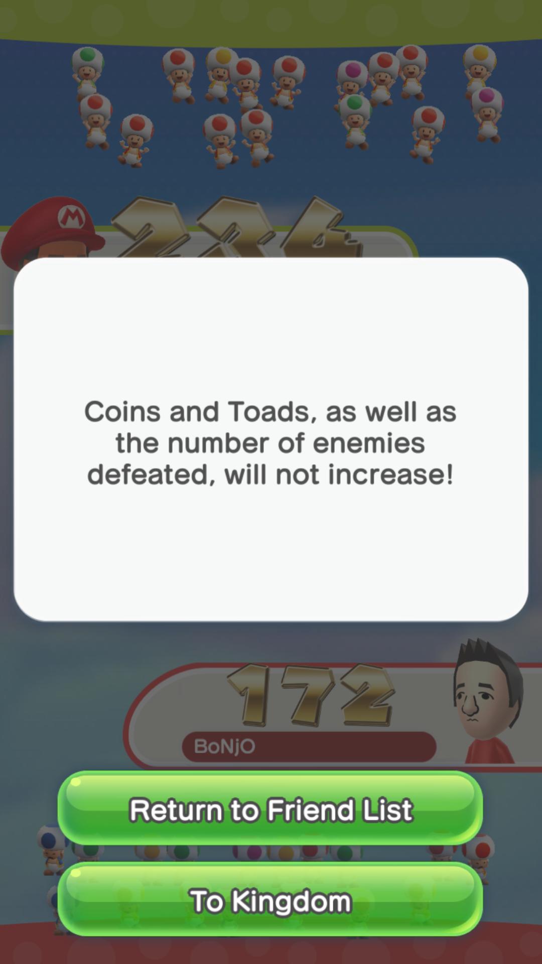 Friendly Run Results in Super Mario Run