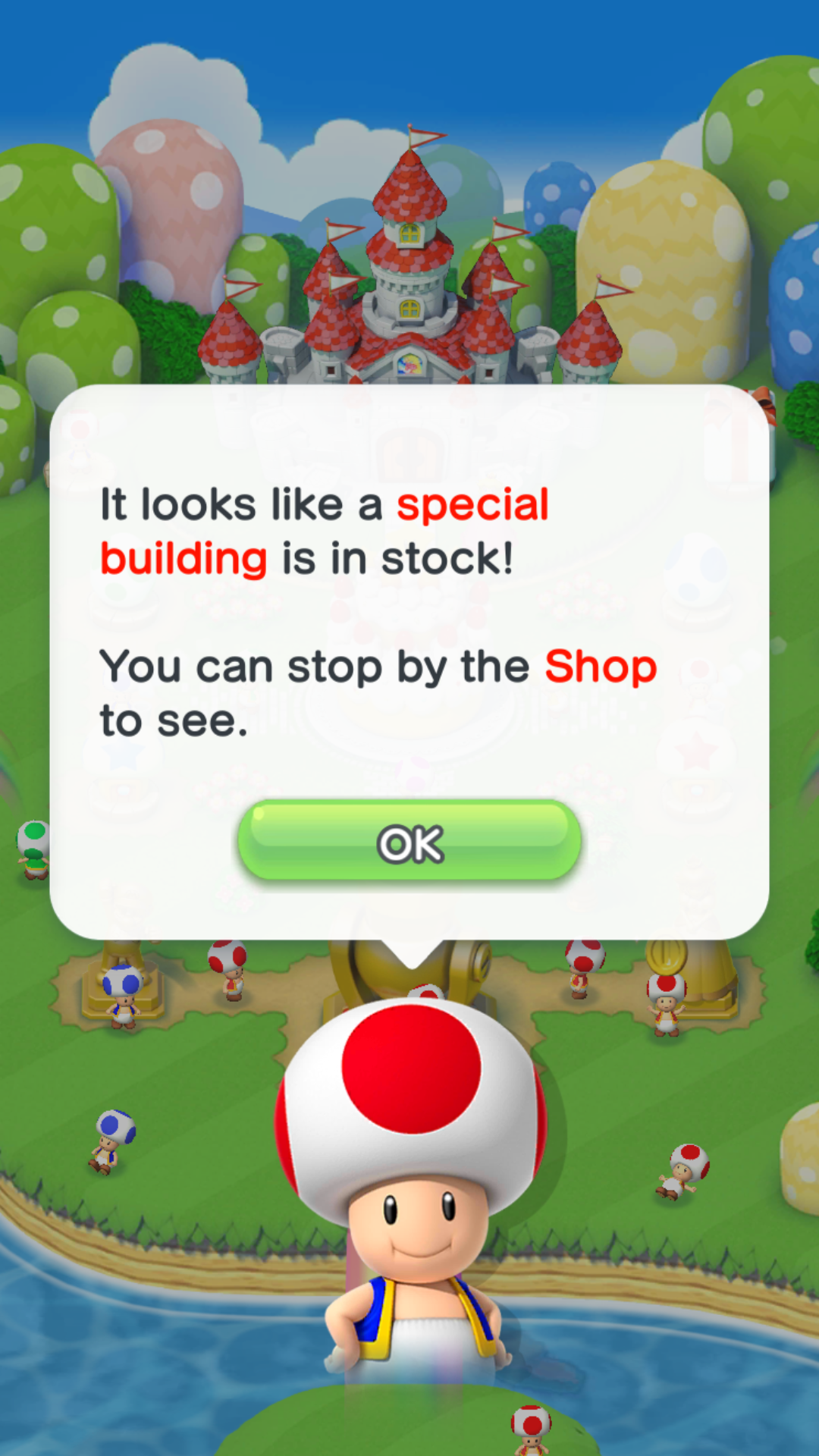 If you have unlocked a special building, then Toad helpfully tells you how to get it.