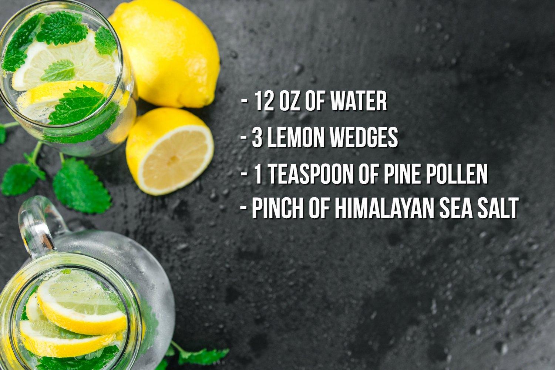 Pine Pollen Lemon and Sea Salt Water