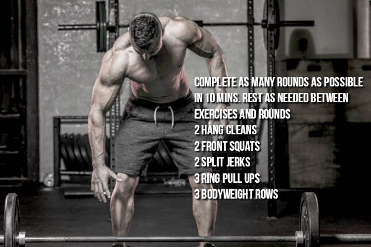 Full body barbell and olympic ring workout