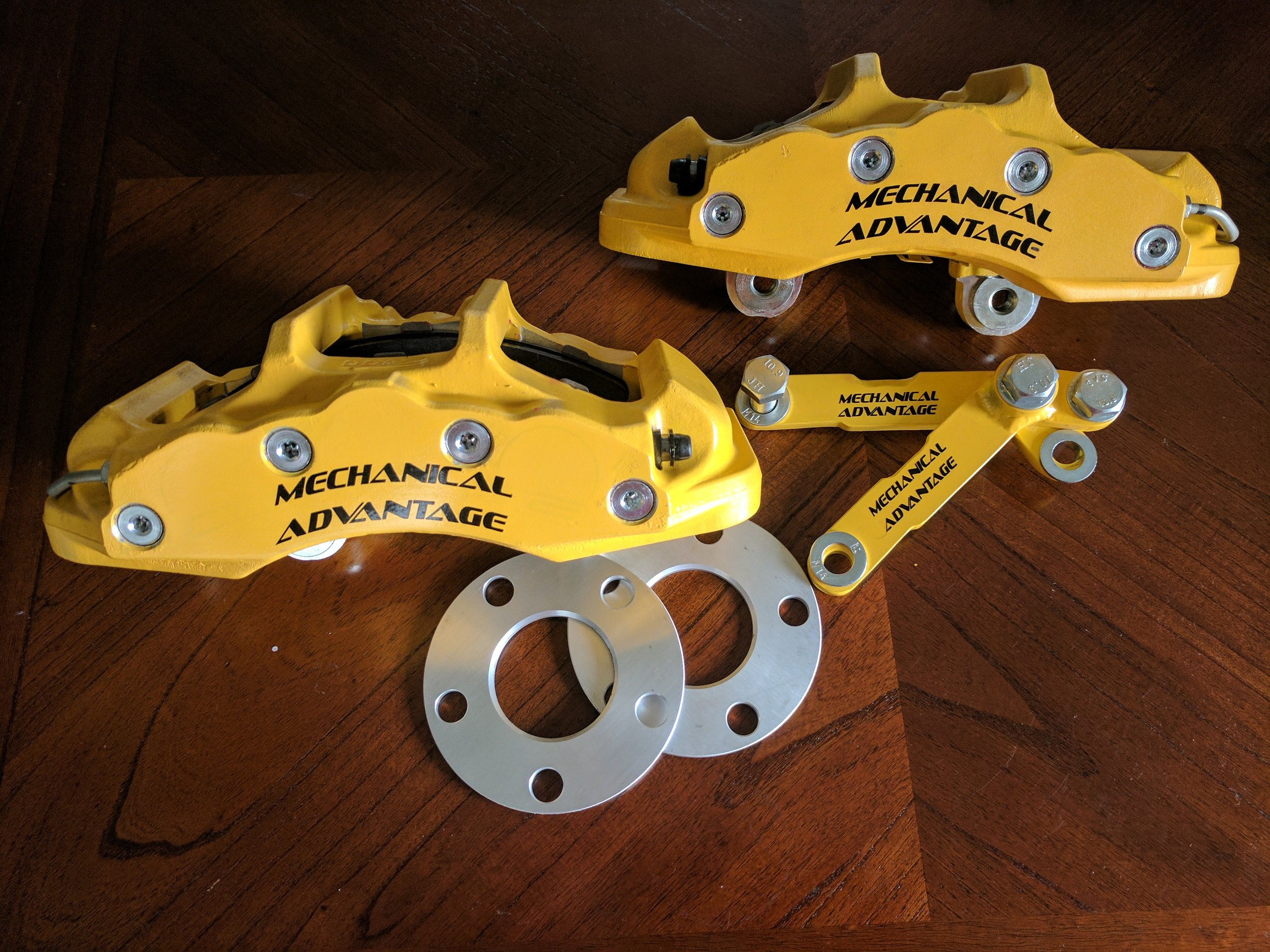 Calipers powder coated and brackets finished