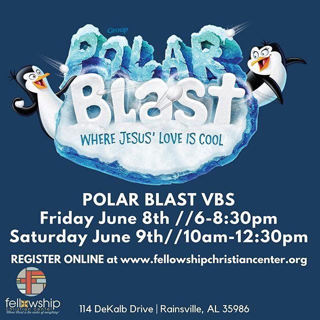 REGISTER ONLINE at www.fellowshipchristiancenter.org … Just click the Polar Blast VBS tab on the homepage, then scroll until you see the Registration Form. We will have a VIP Room set up for any parent(s) who would like to stick around while your kids enjoy VBS.