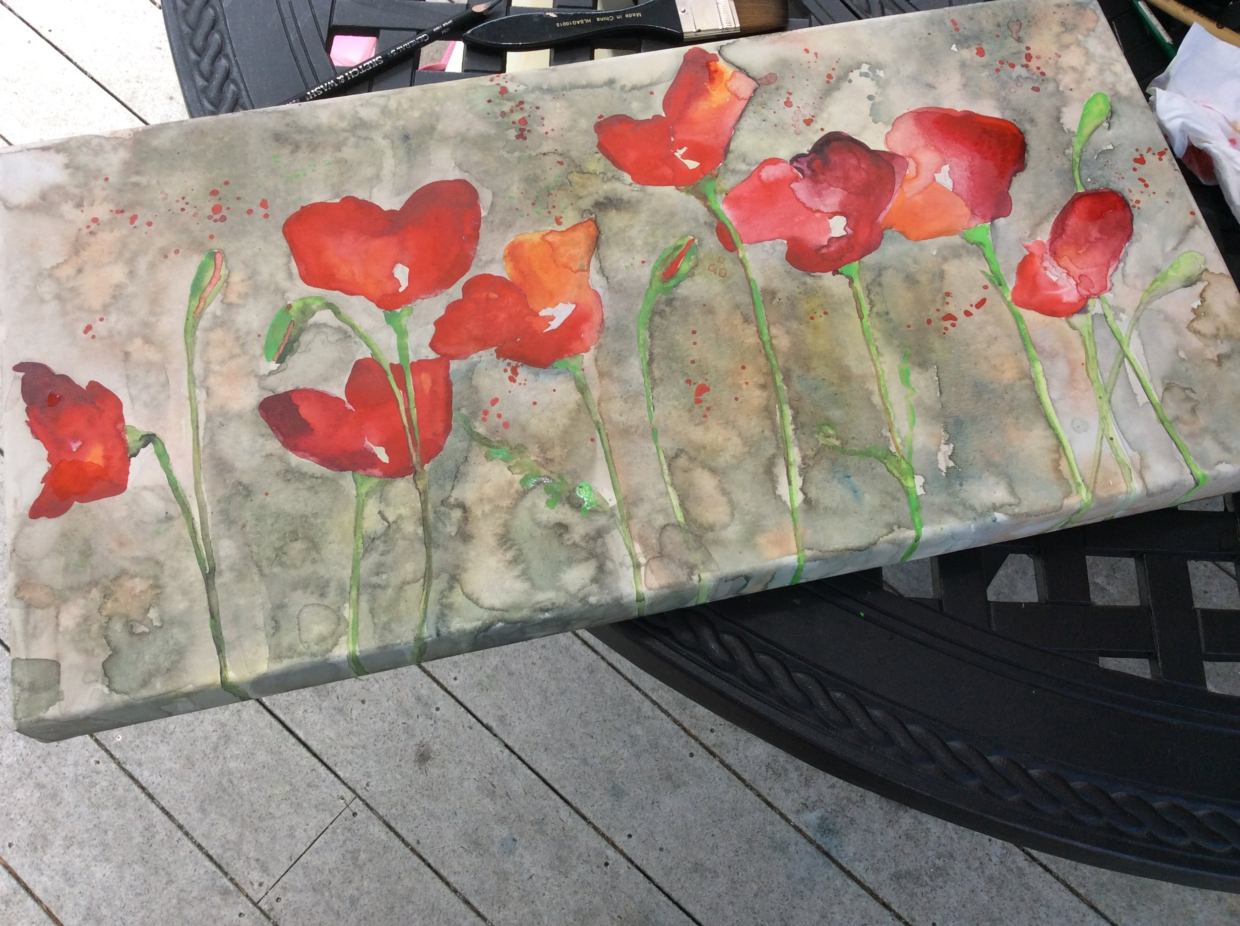 poppies in progress- watercolor on canvas